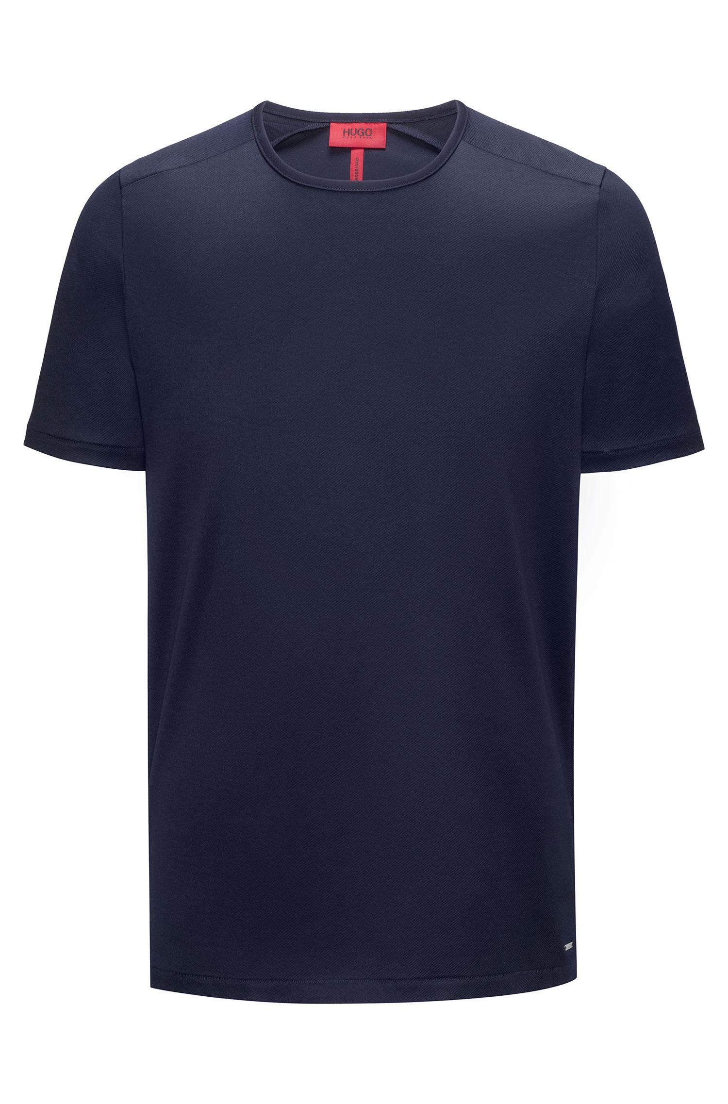 T-Shirt aus merzerisiertem Interlock-Gewebe mit Rundhalsausschnitt