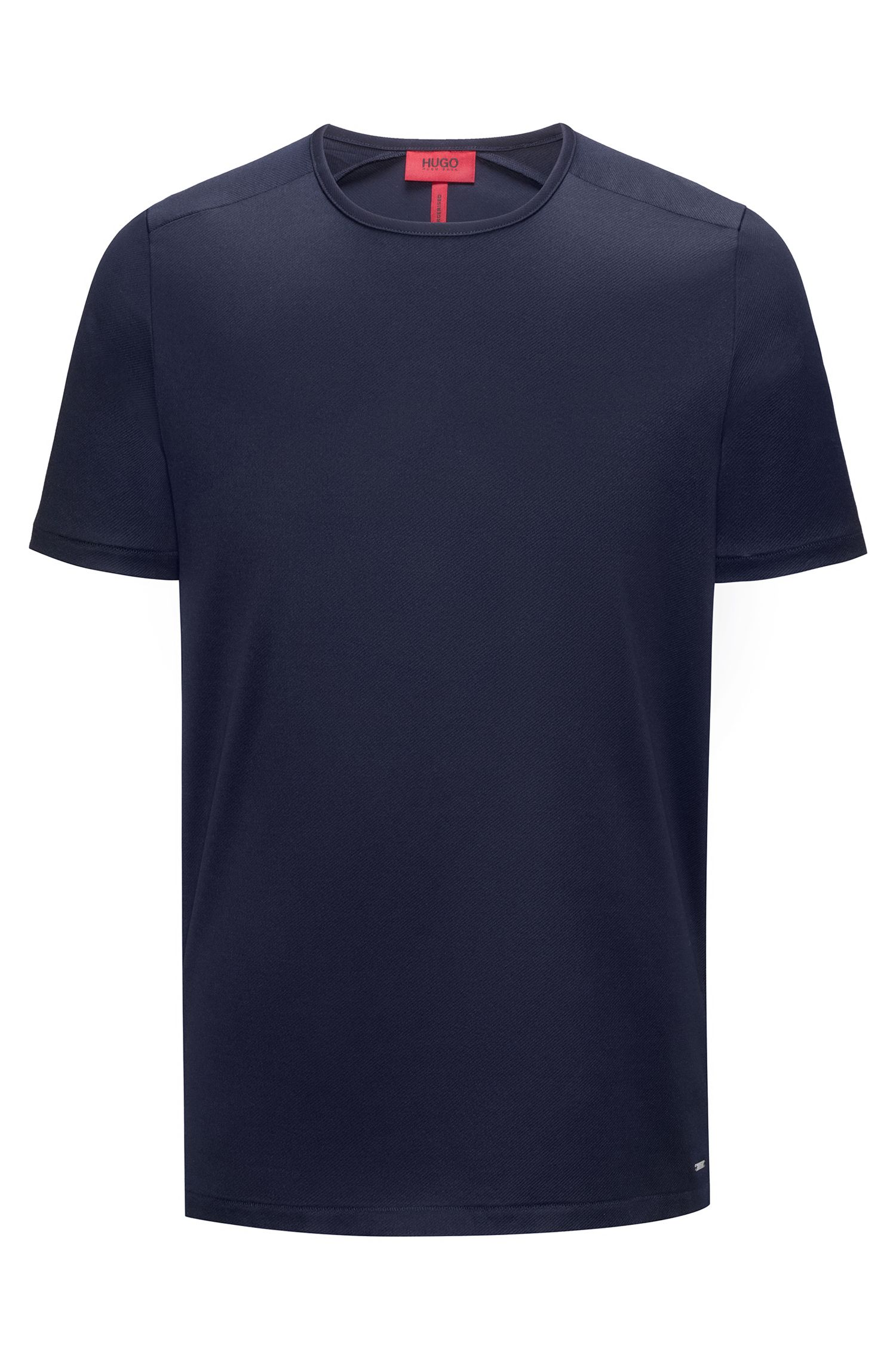 T-shirt a girocollo in twill di cotone intrecciato mercerizzato