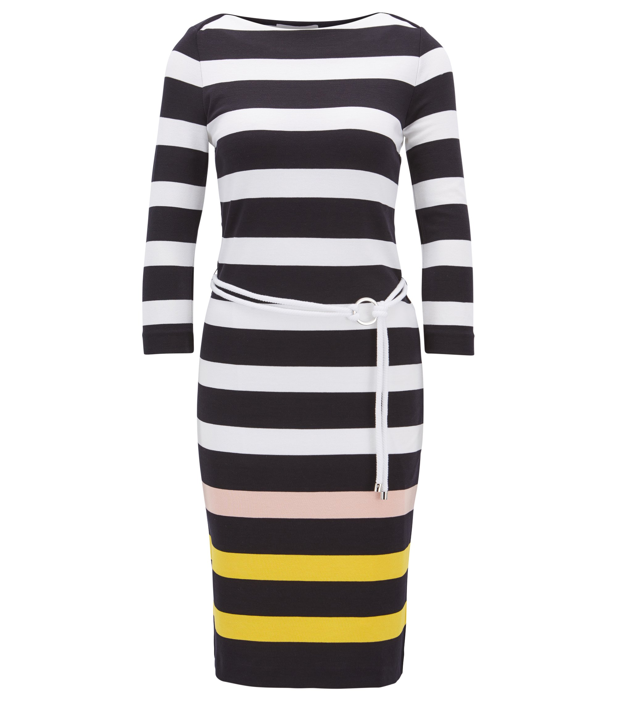 Striped midi dress in stretch jersey with cord belt, Patterned
