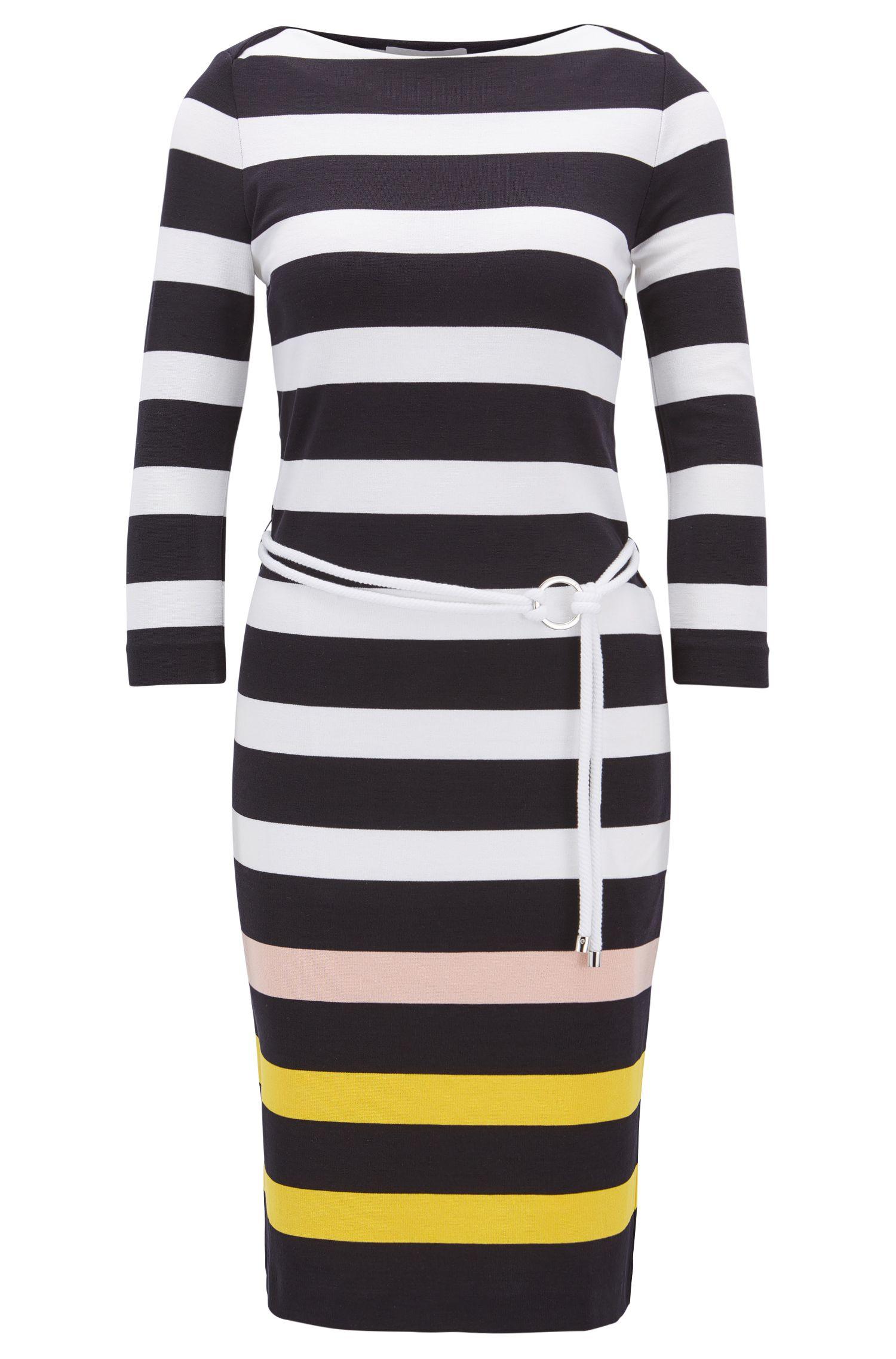 Gestreepte midi-jurk van stretchjersey met koordceintuur