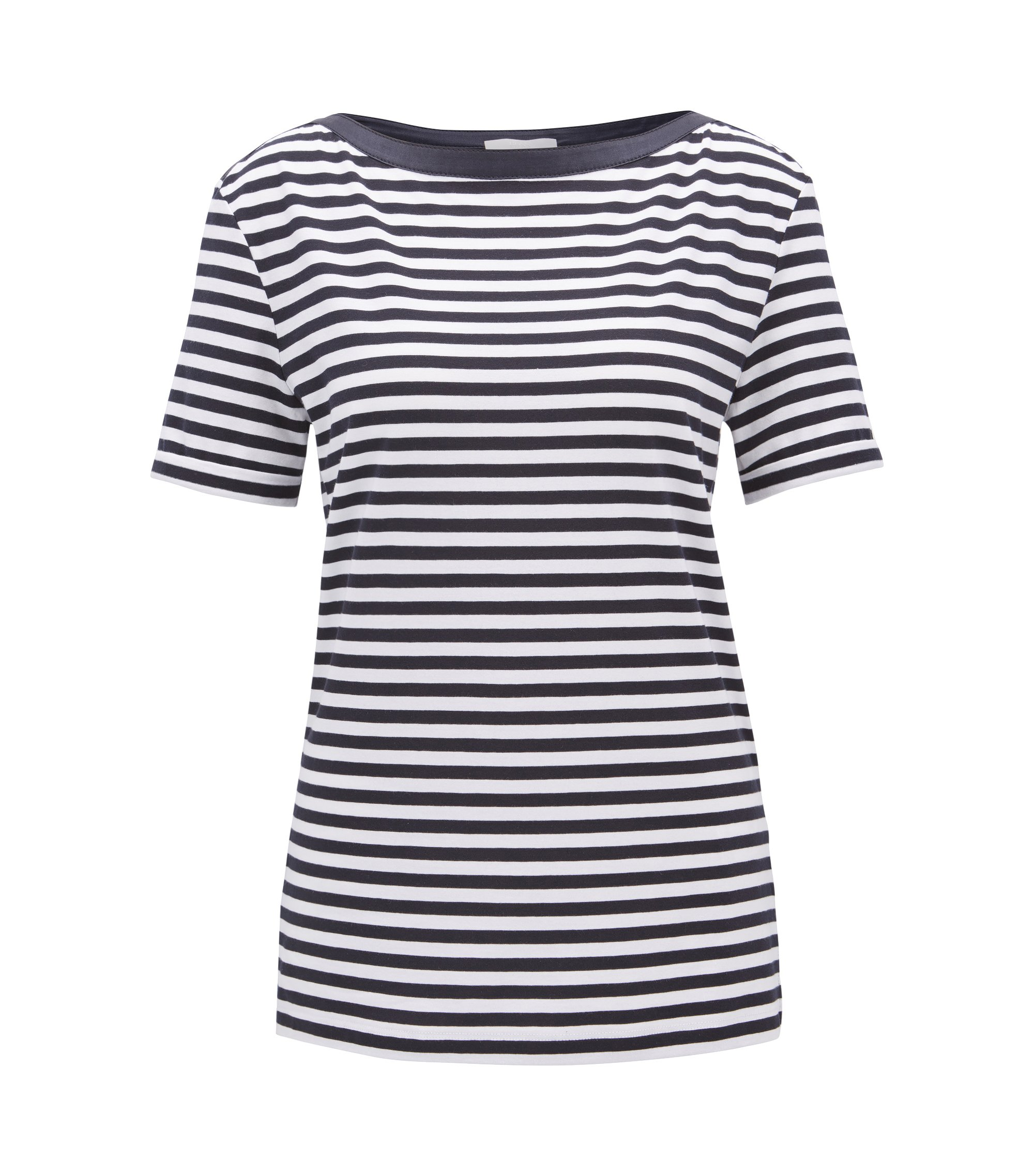 Striped boat-neck top in stretch fabric, Patterned