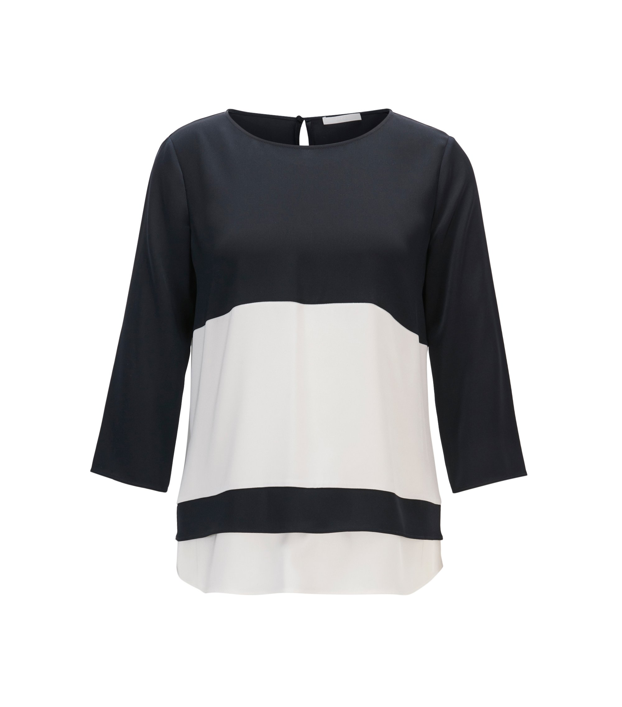 Colourblock top in stretch silk, Dark Blue
