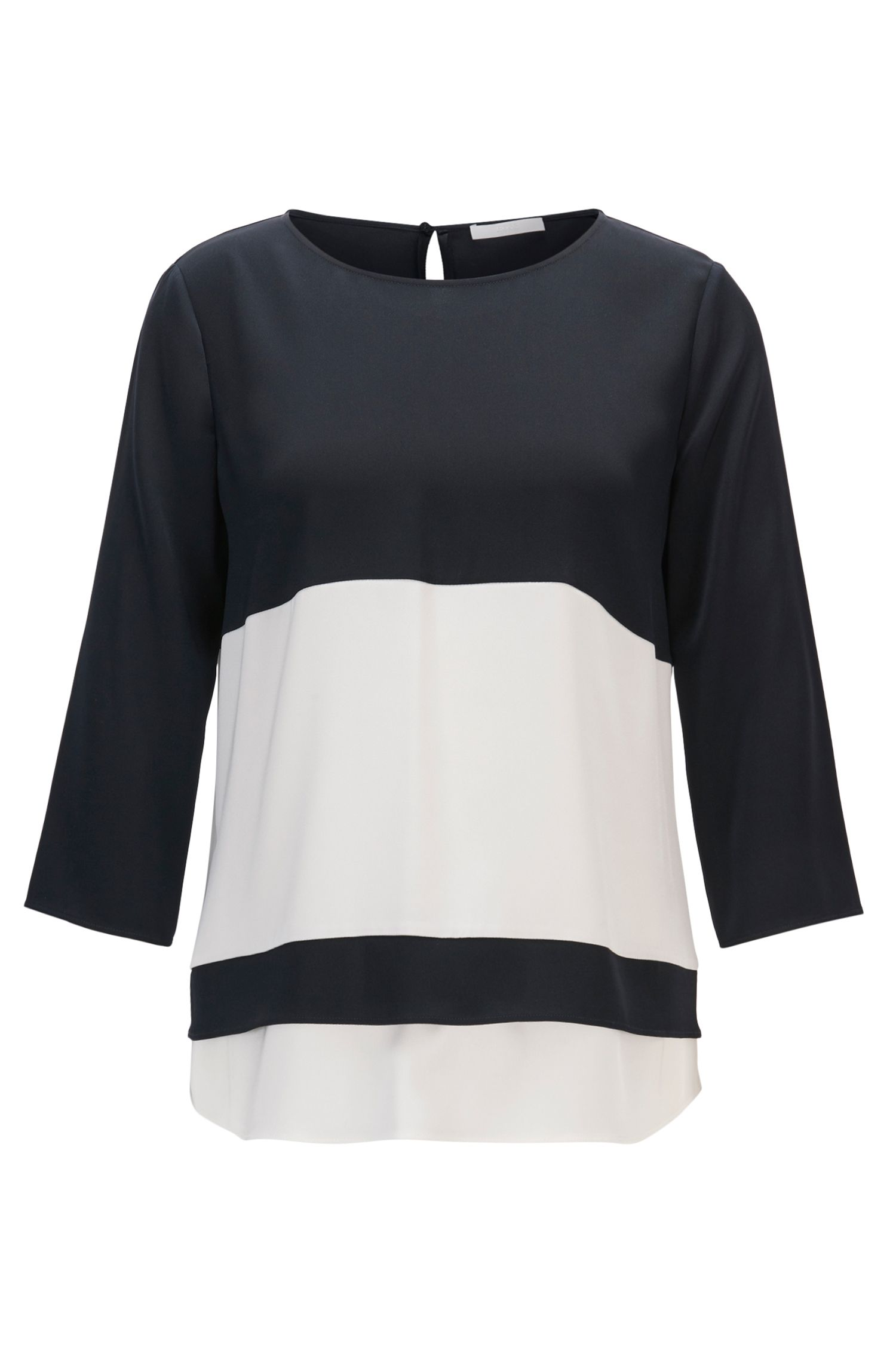 Colourblock top van zijde met stretch