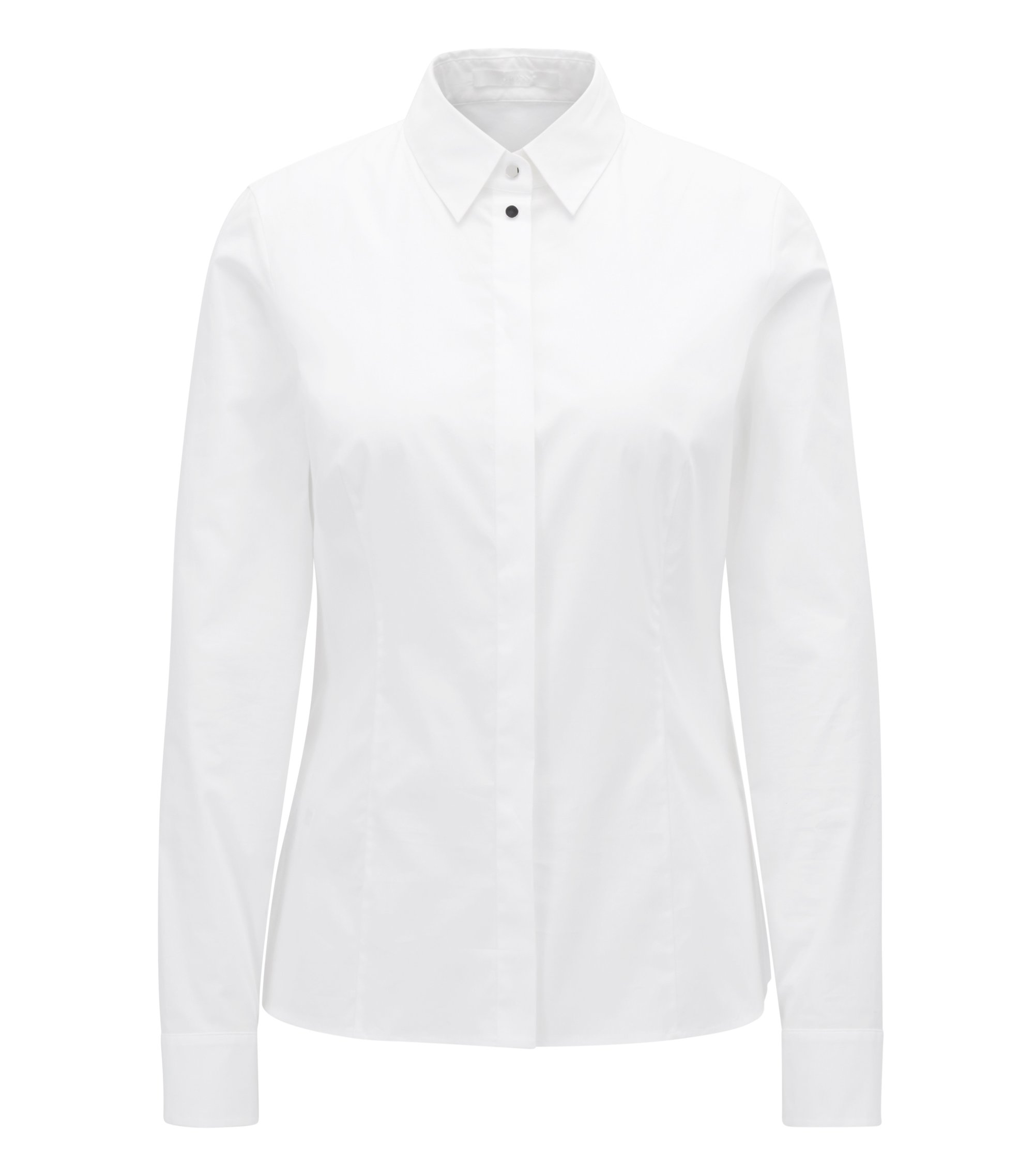 Regular-fit stretch-cotton blouse with hardware details, White