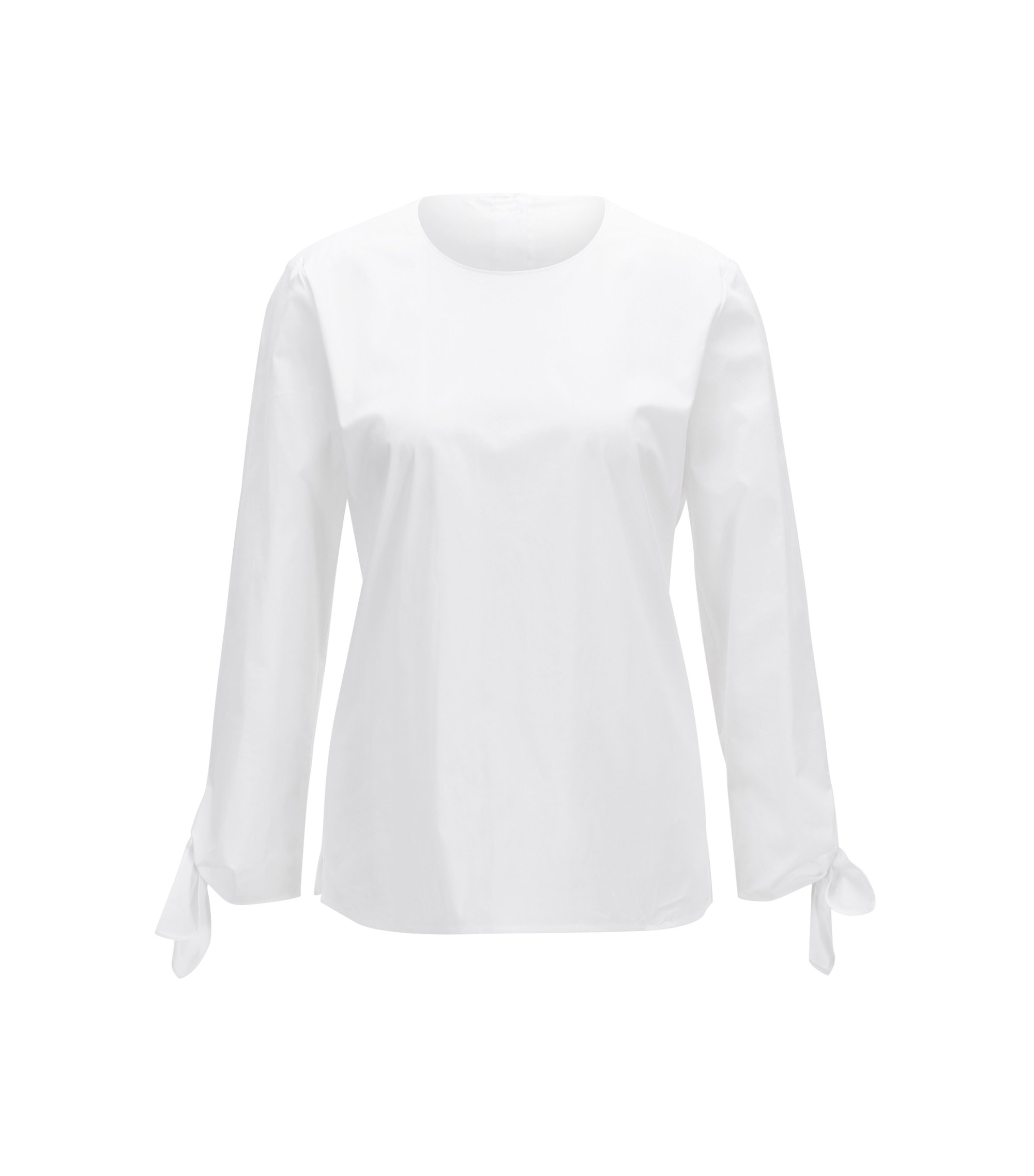 Stretch-cotton top with knotted cuffs, White