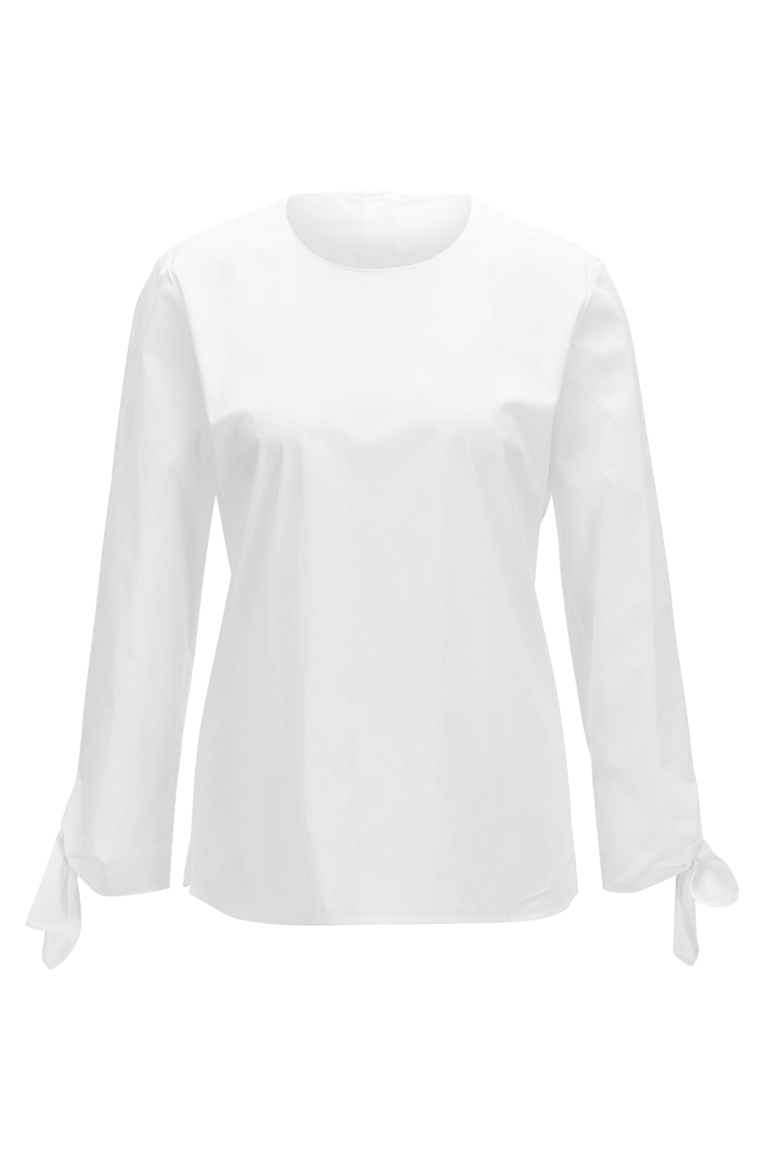 Stretch-cotton top with knotted cuffs