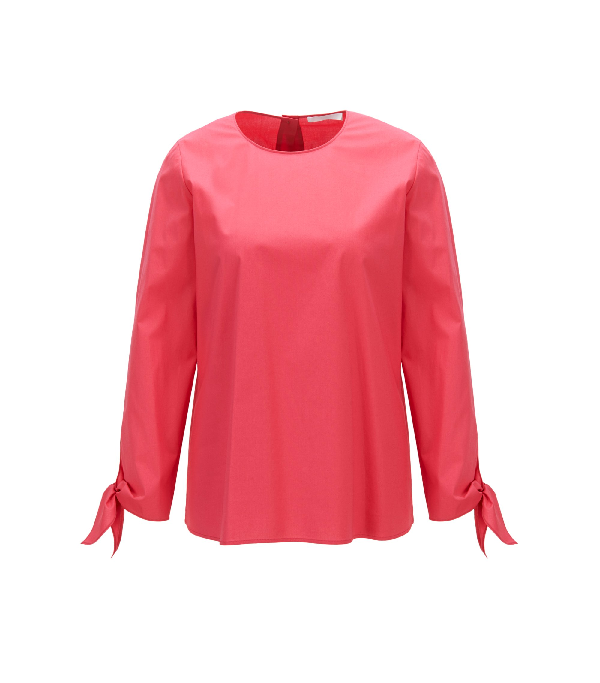 Stretch-cotton top with knotted cuffs, Open Pink