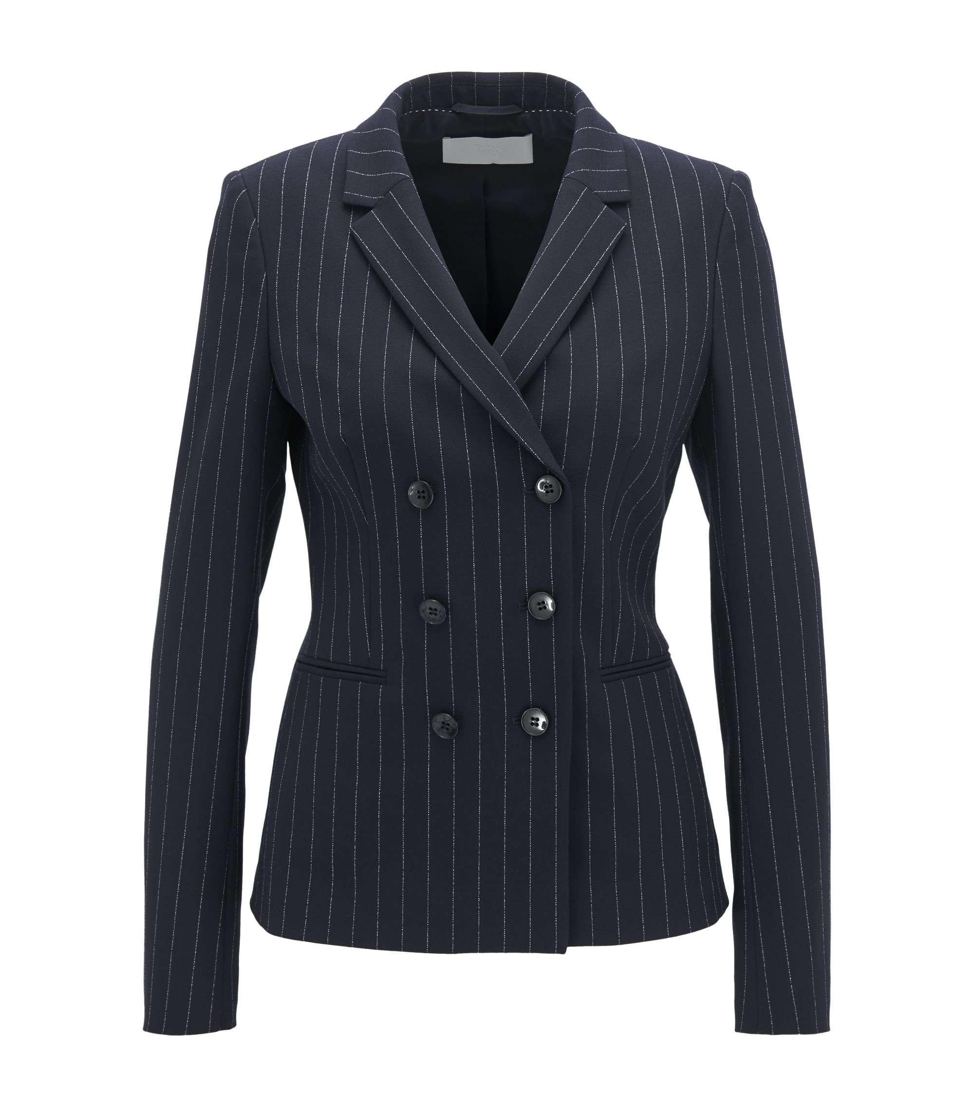 Double-breasted blazer in a regular fit, Patterned
