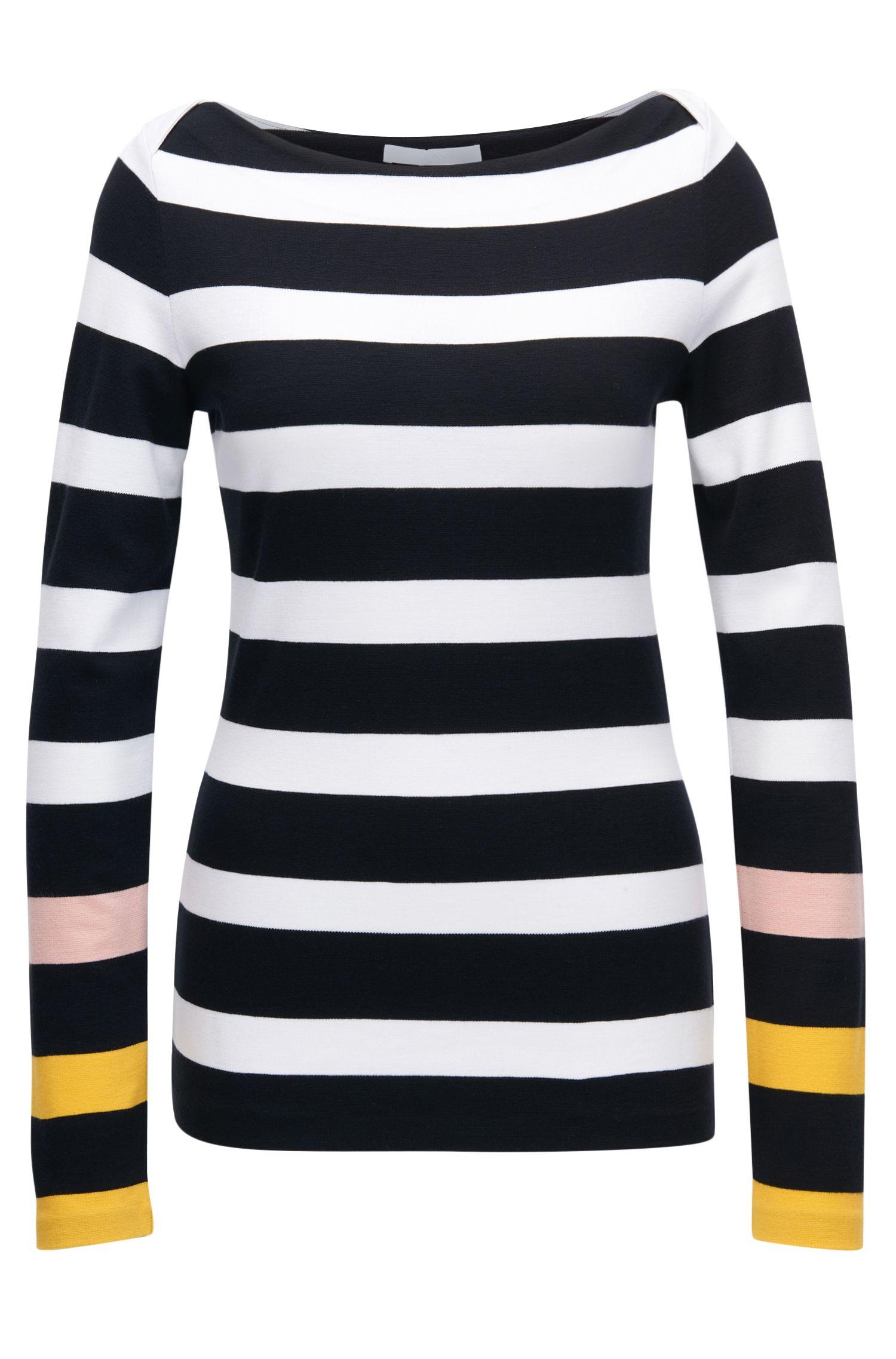 Nautical-striped top in stretch fabric