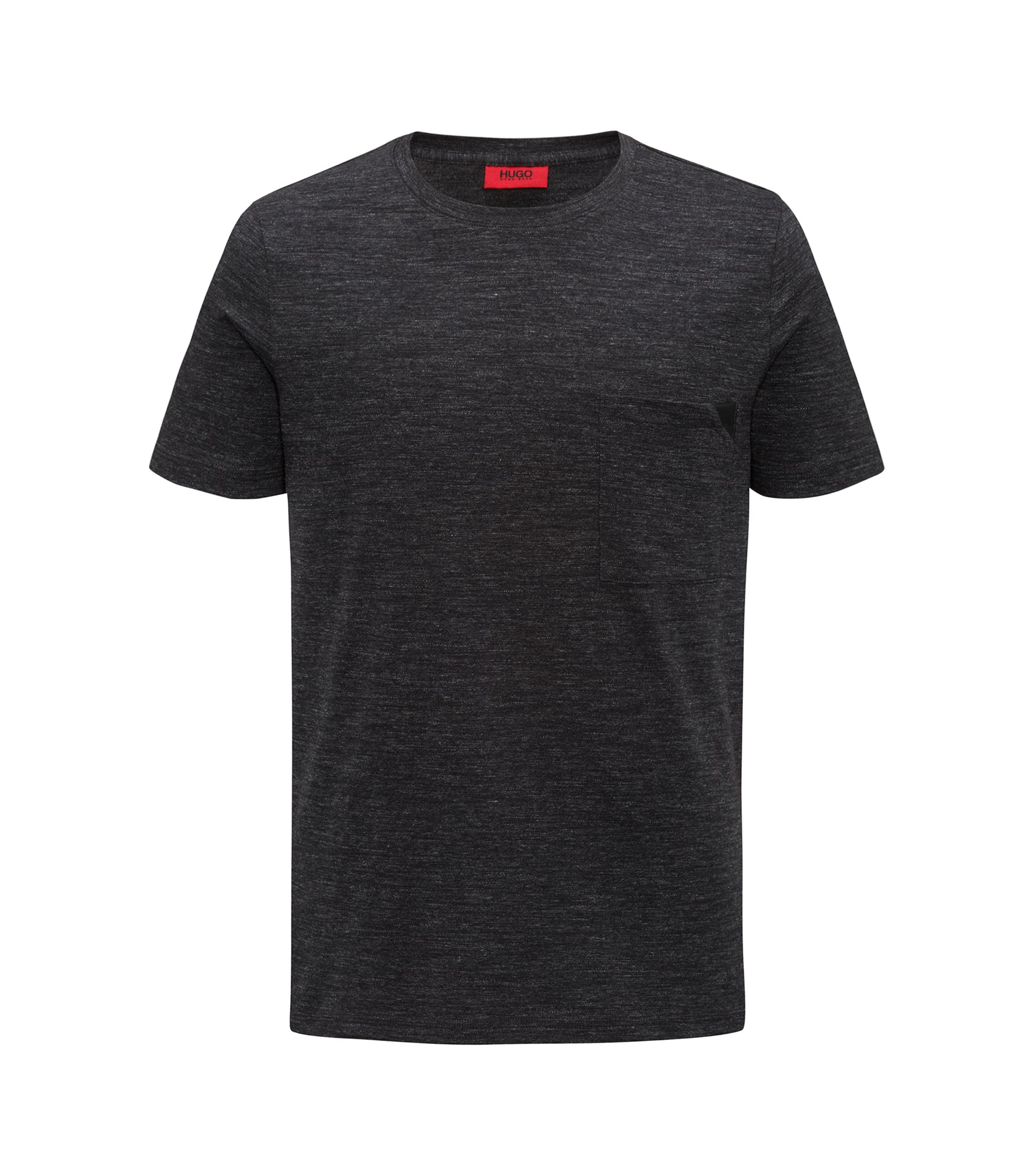 Short-sleeved T-shirt in mélange cotton, Black