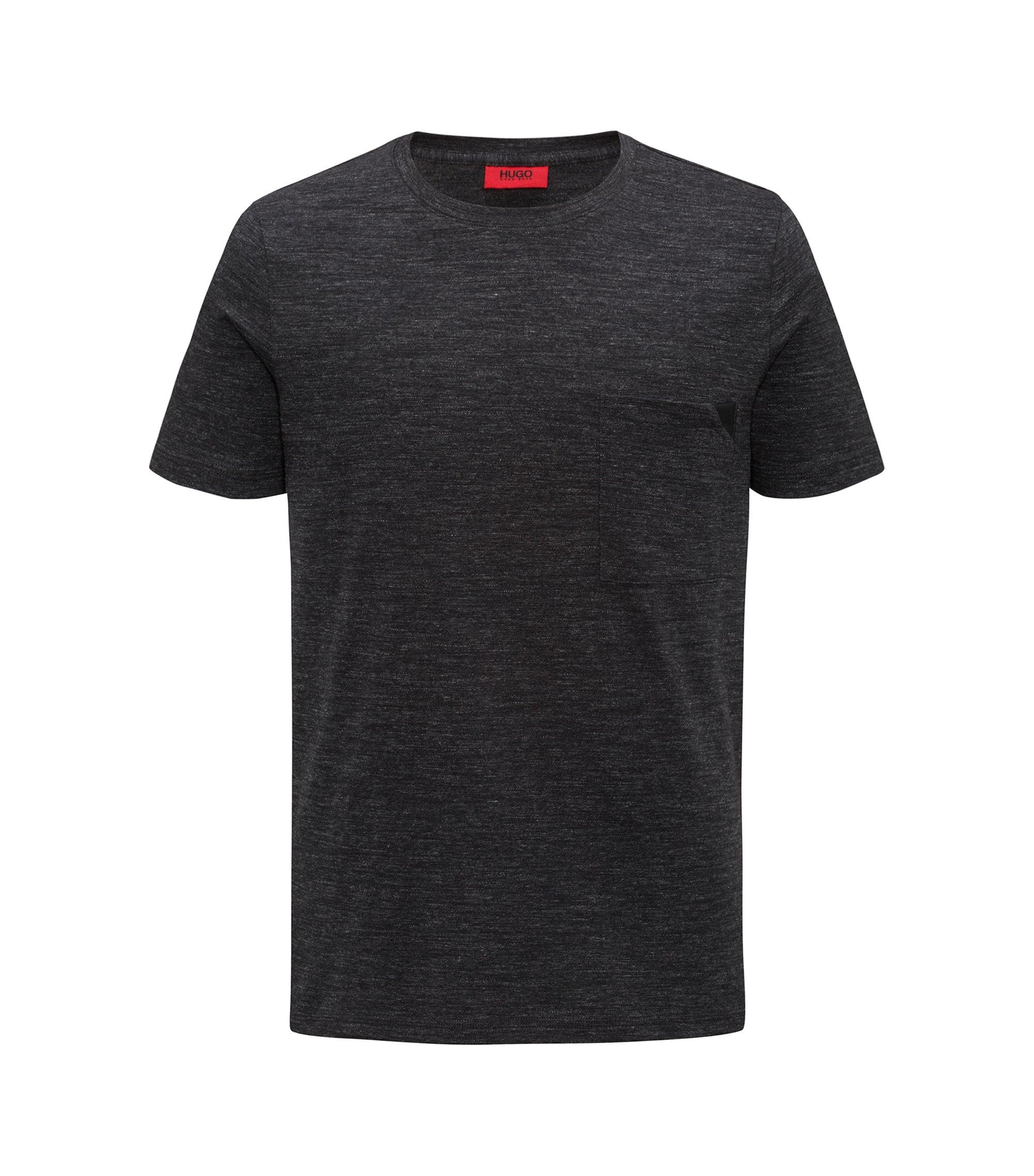 T-shirt à manches courtes en coton chiné, Noir