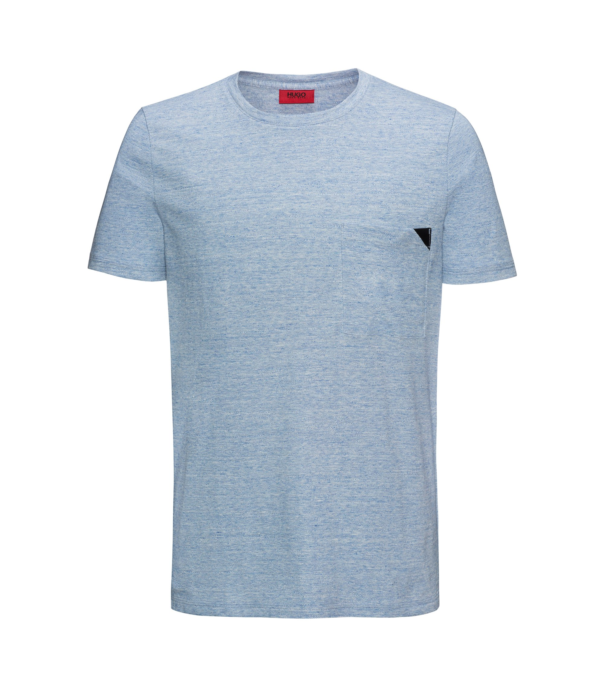Short-sleeved T-shirt in mélange cotton, Light Blue