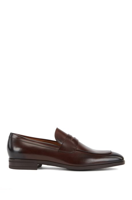 Penny loafers in burnished leather, Dark Brown