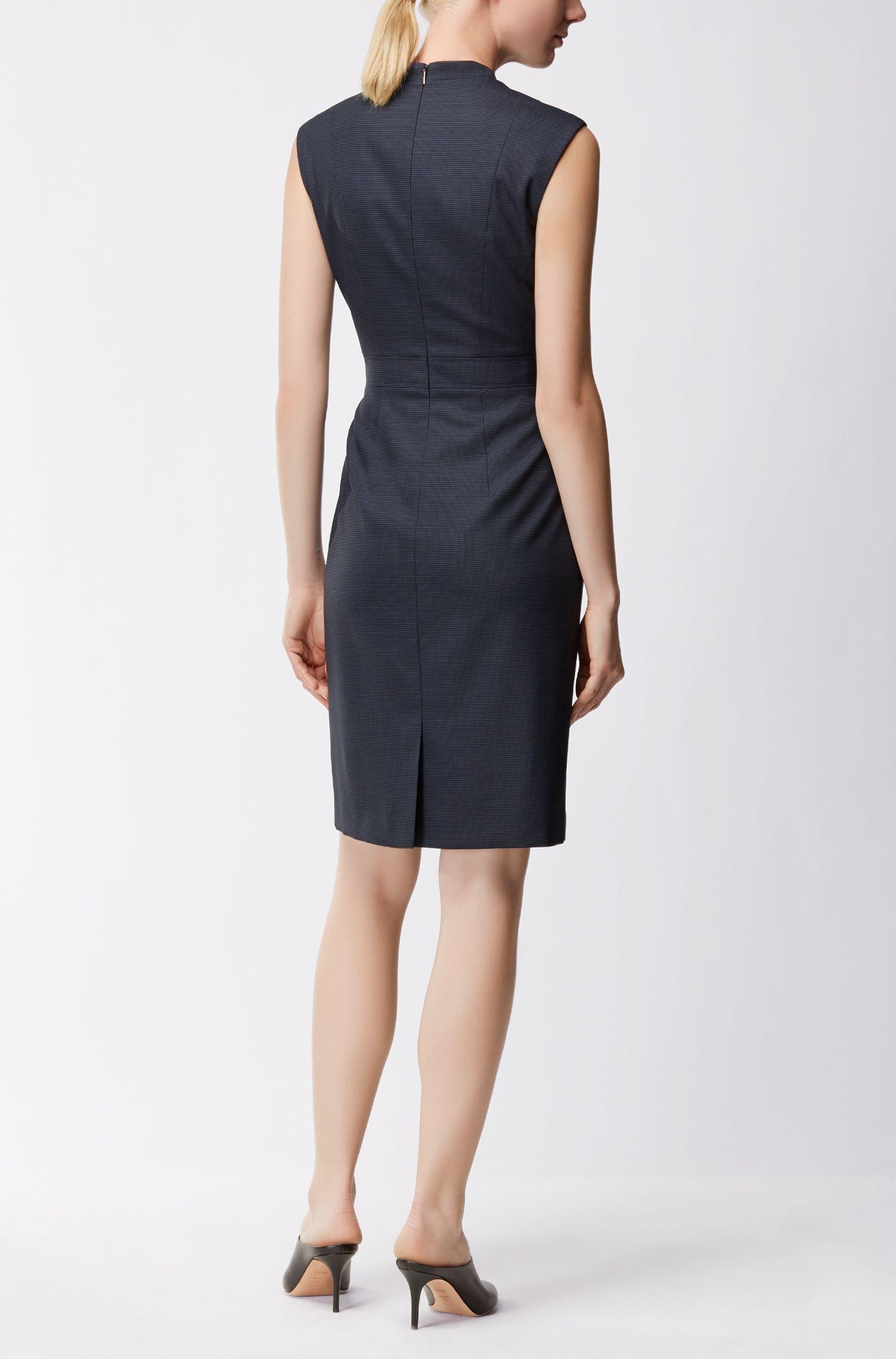 Shift dress in micro-patterned stretch virgin wool BOSS