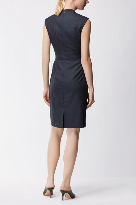 Shift dress in micro-patterned stretch virgin wool BOSS QRGivv
