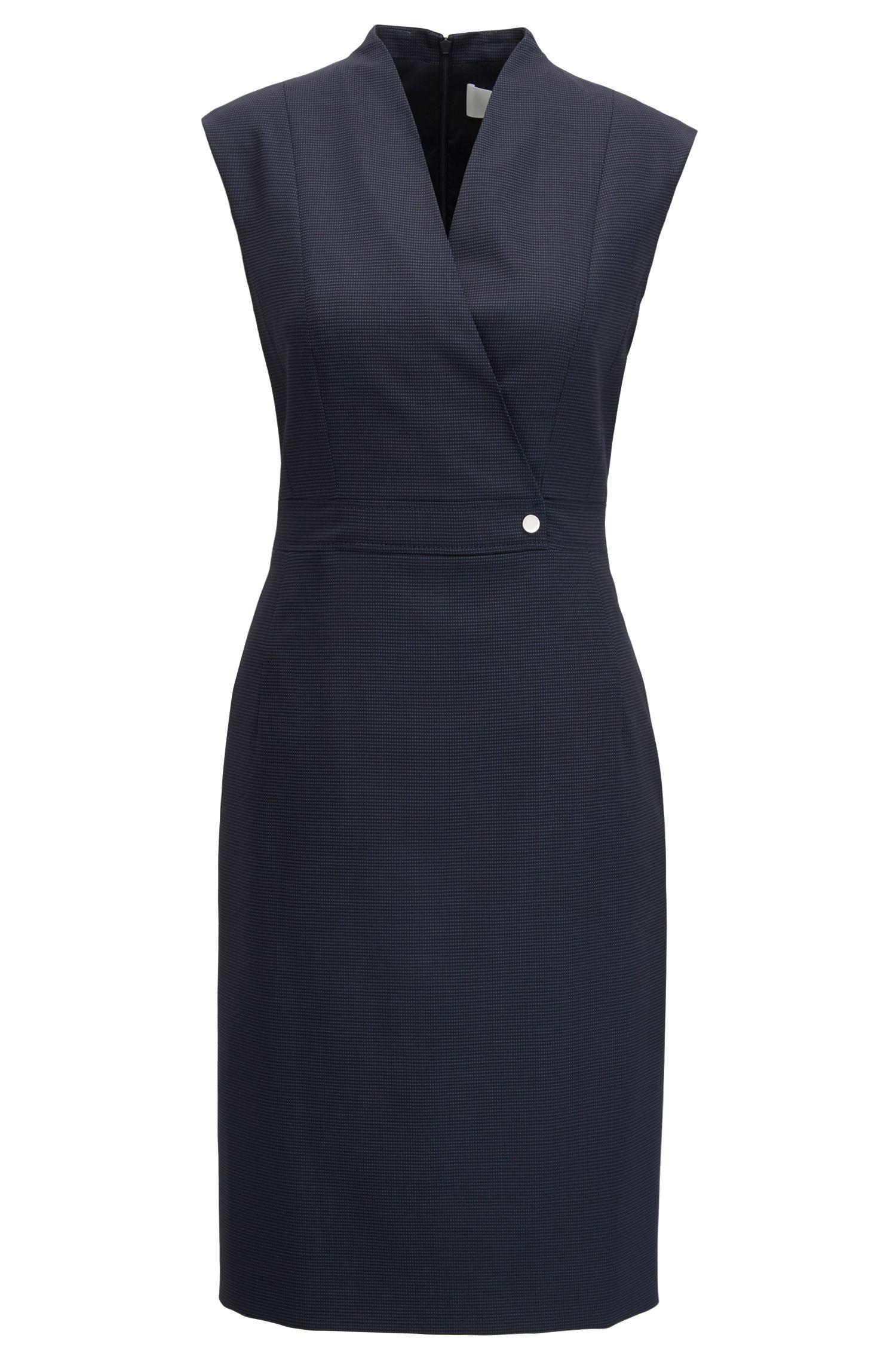 Shift dress in micro-patterned stretch virgin wool