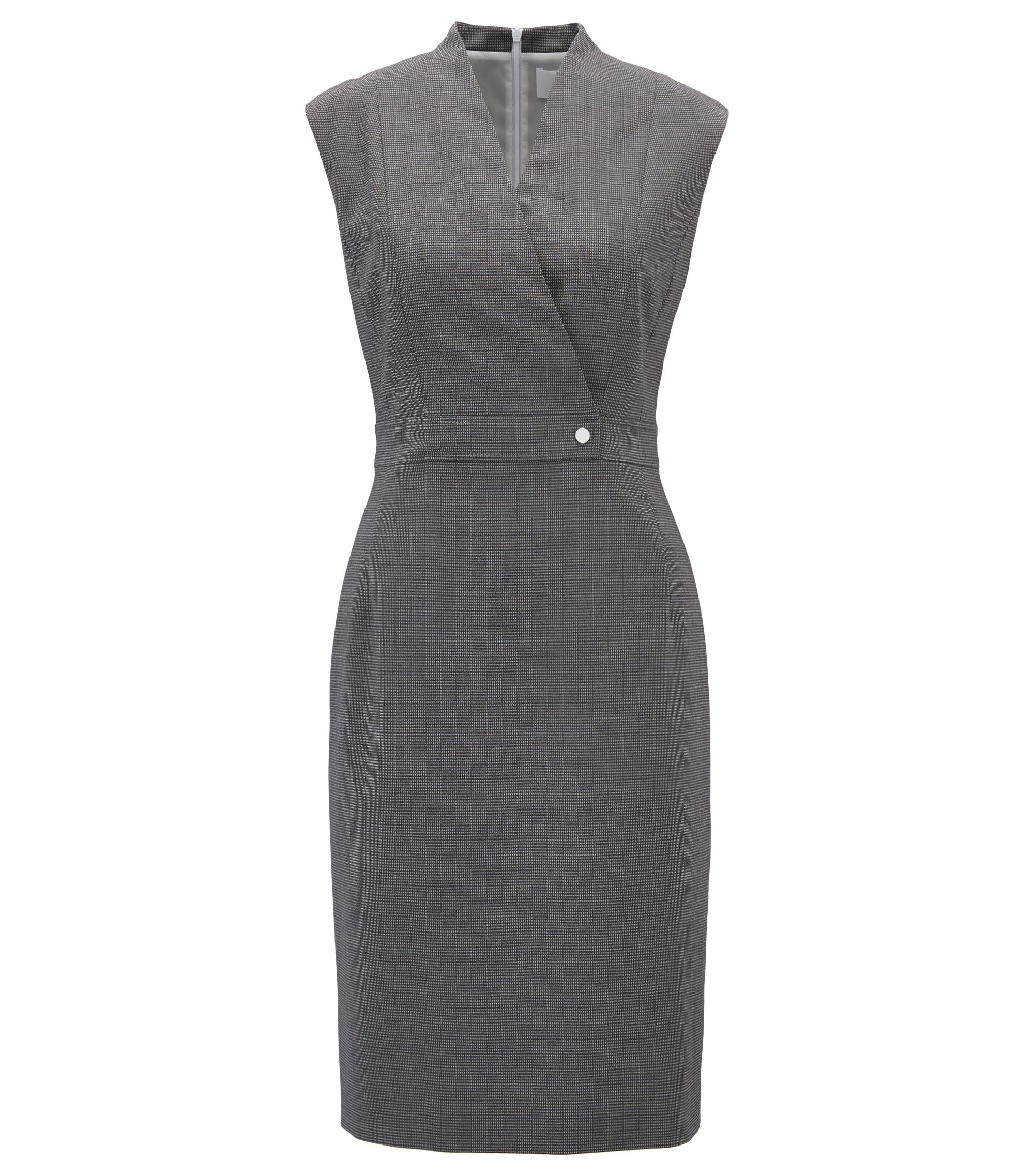 Shift dress in micro-patterned stretch virgin wool, Patterned