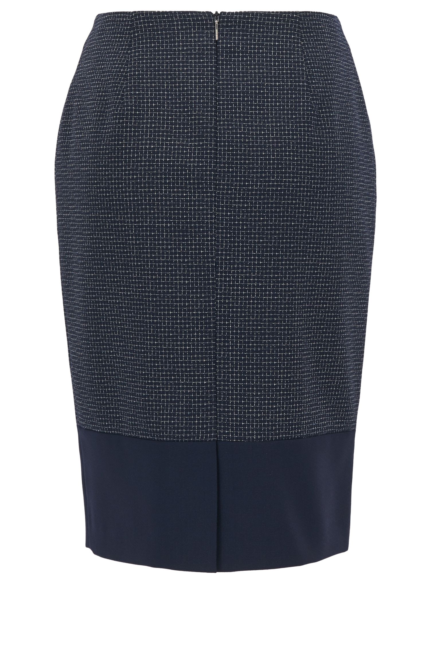 Checked virgin-wool pencil skirt with accentuated hem