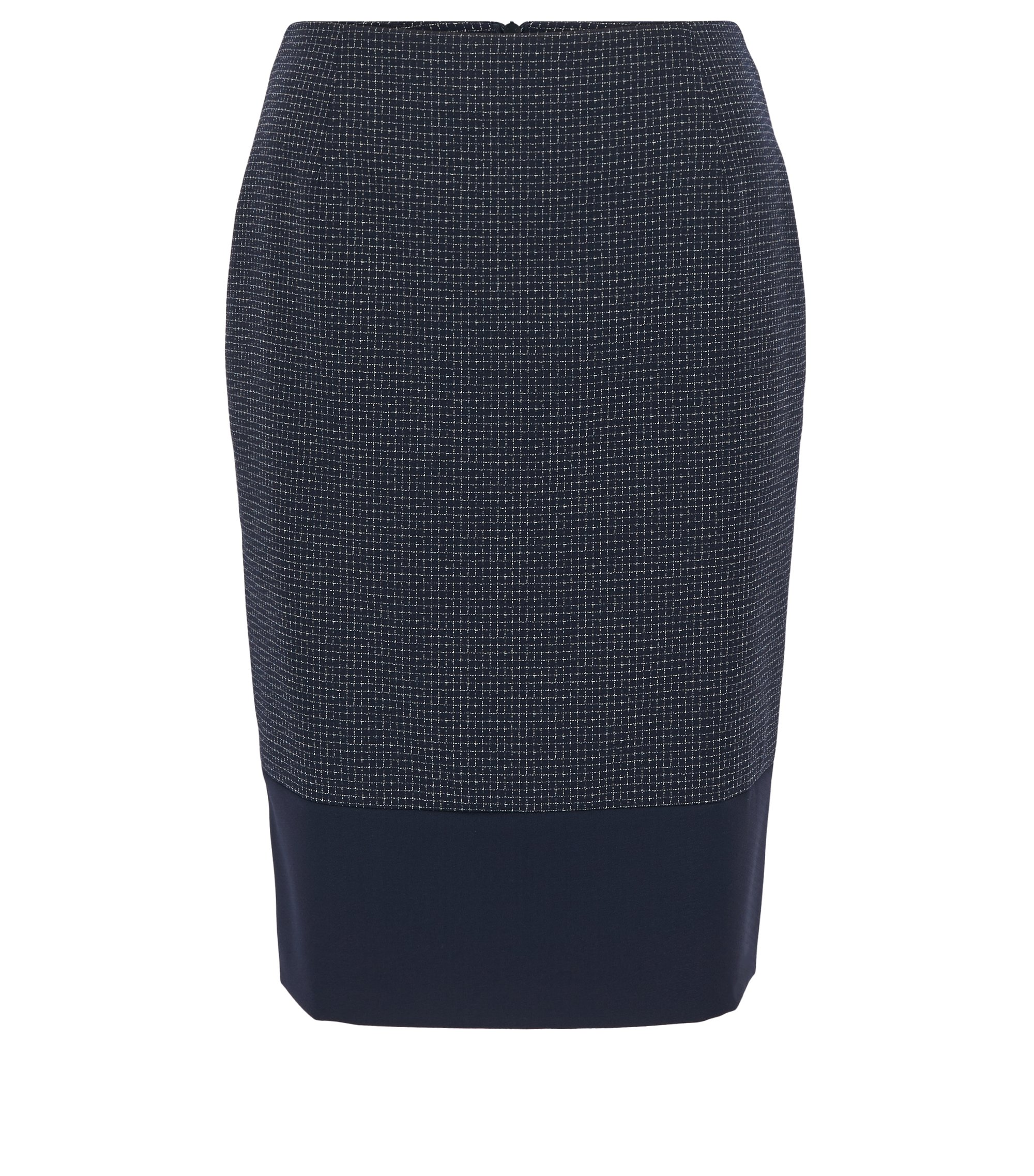 Checked virgin-wool pencil skirt with accentuated hem, Patterned