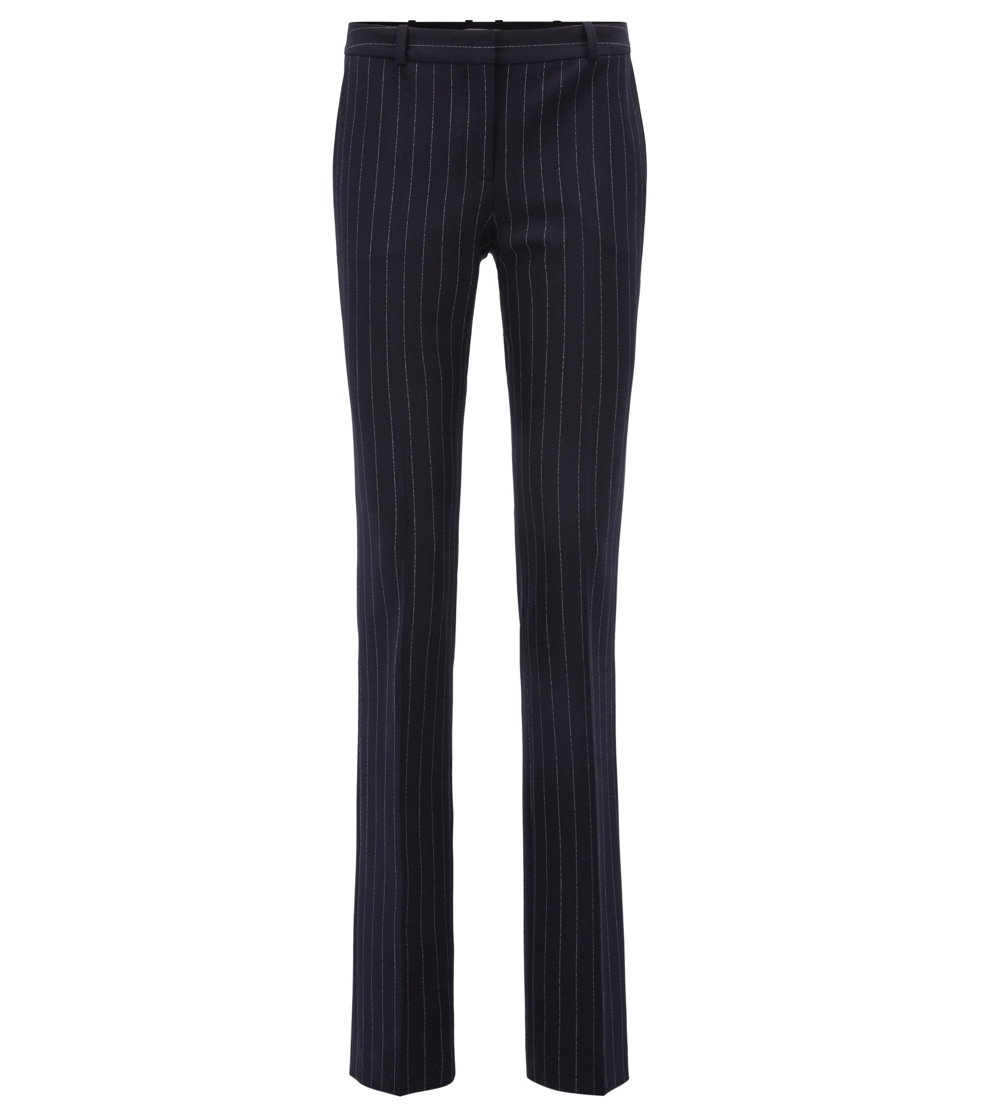 Regular-fit pinstripe trousers in stretch fabric, Patterned