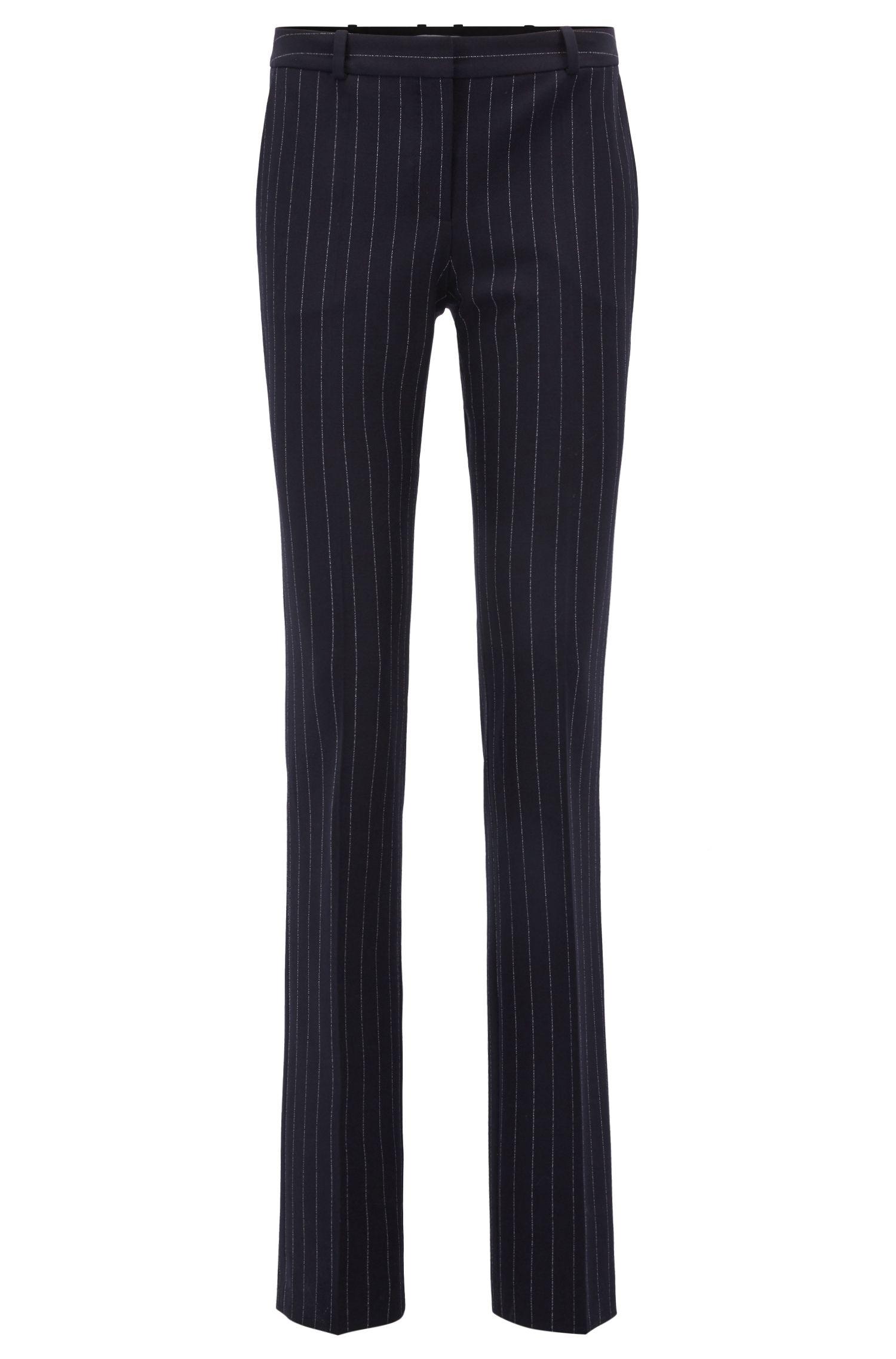 Regular-fit pinstripe trousers in stretch fabric