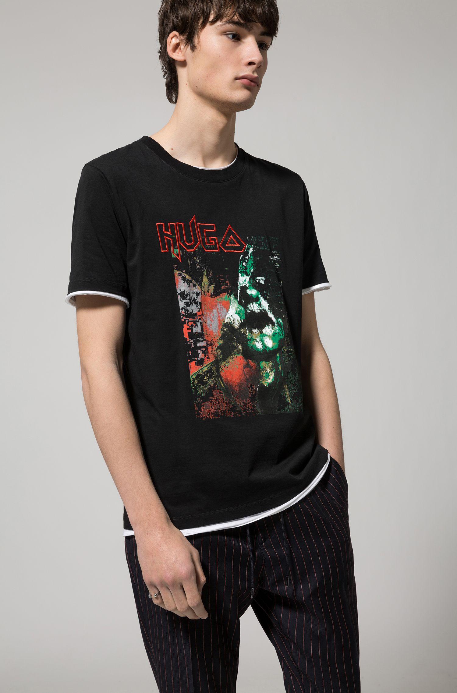 T-shirt Relaxed Fit en coton au motif artistique impressionnant