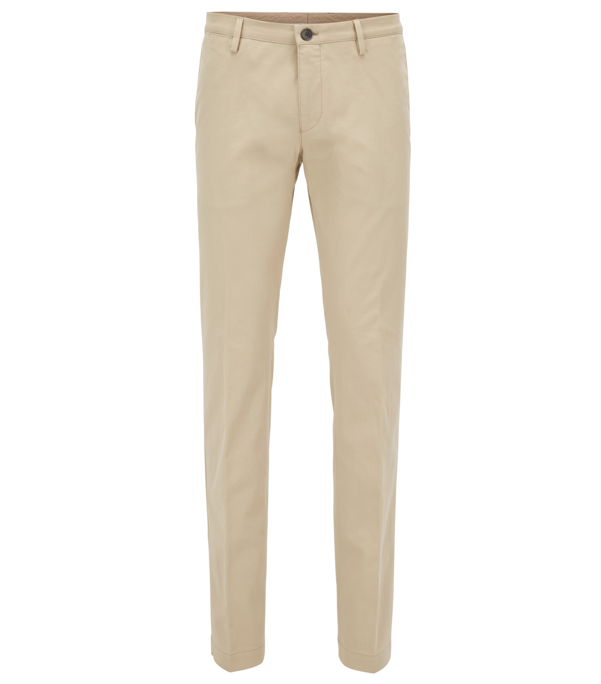 Slim-fit chinos in stretch cotton, Light Beige