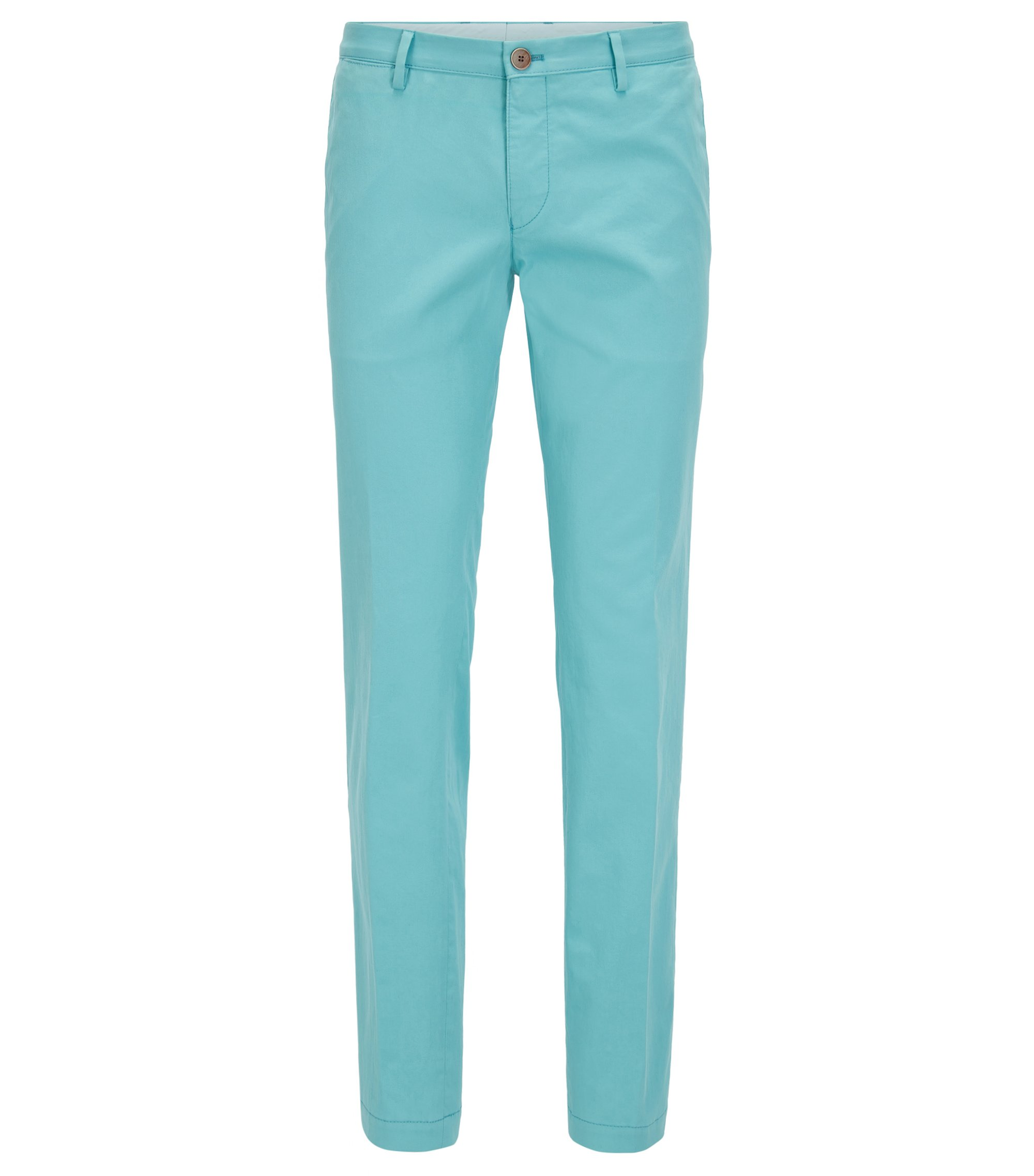 Chino Slim Fit en coton stretch, Turquoise