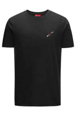 T-shirt ras-de-cou en coton orné d'un imprimé placé avec précision, Noir