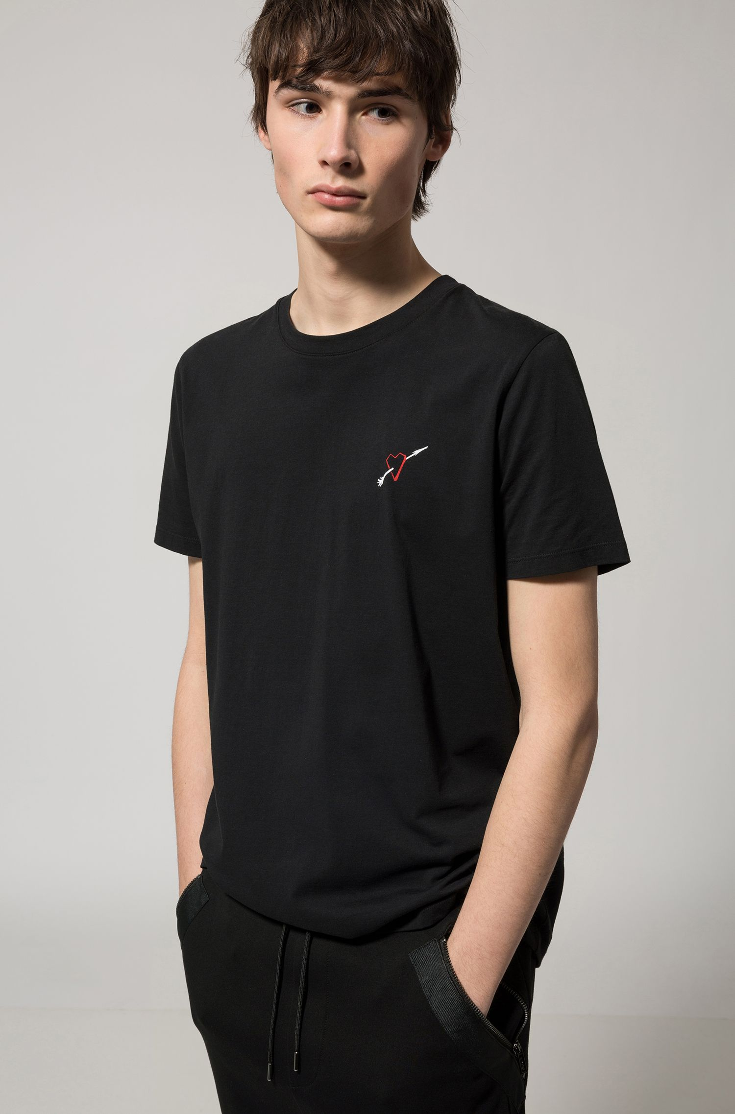 Crew-neck cotton T-shirt with placement print