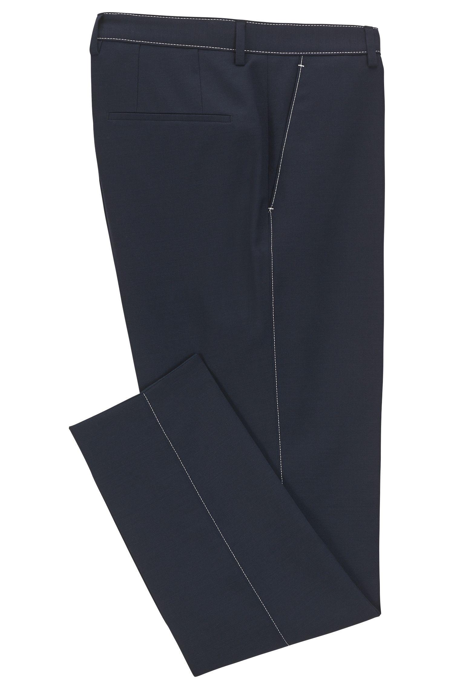 Slim-Fit Hose aus melierter Schurwolle mit Kontrastnähten