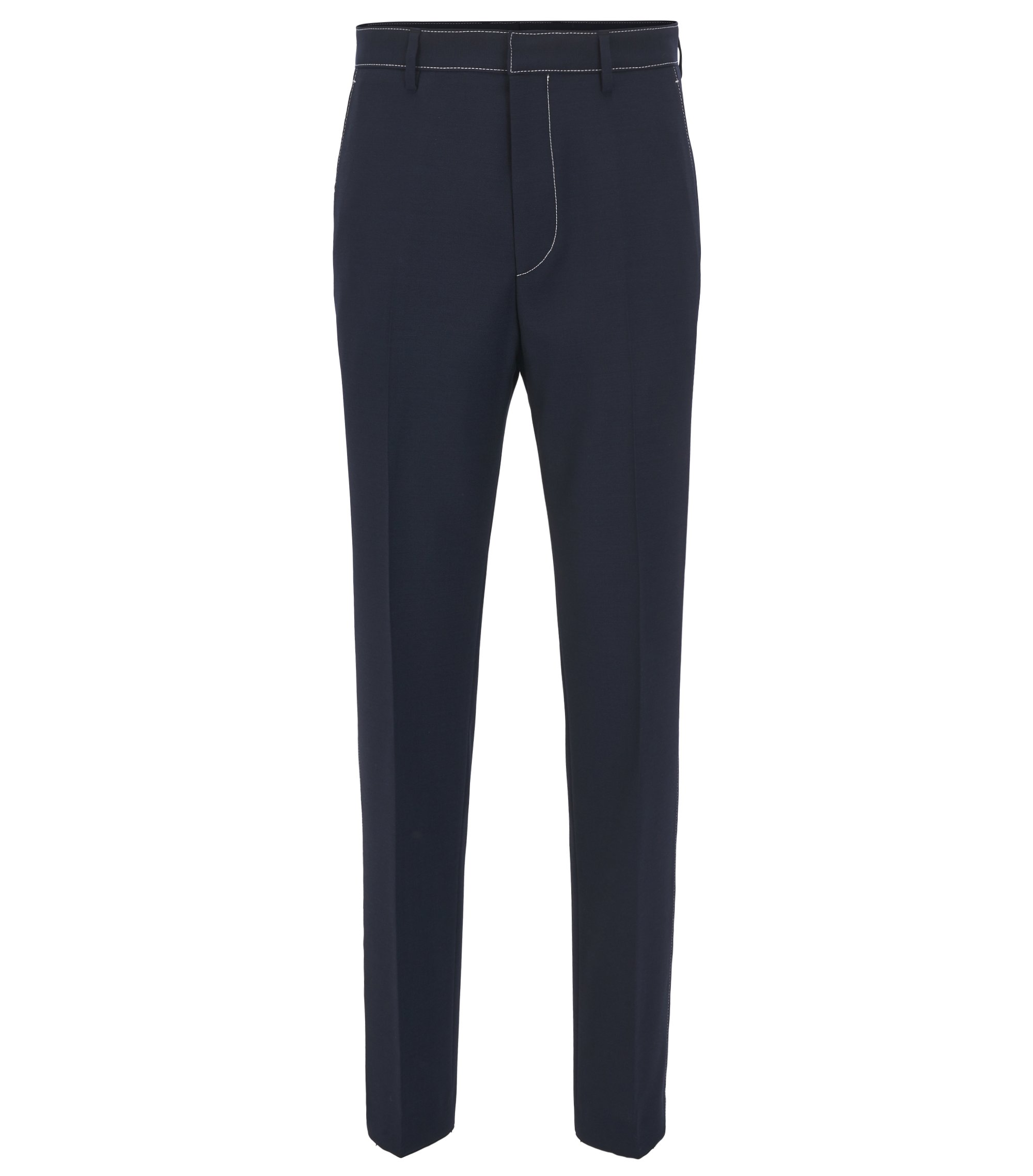 Pantaloni slim fit in lana vergine con impunture di colore a contrasto, Blu scuro