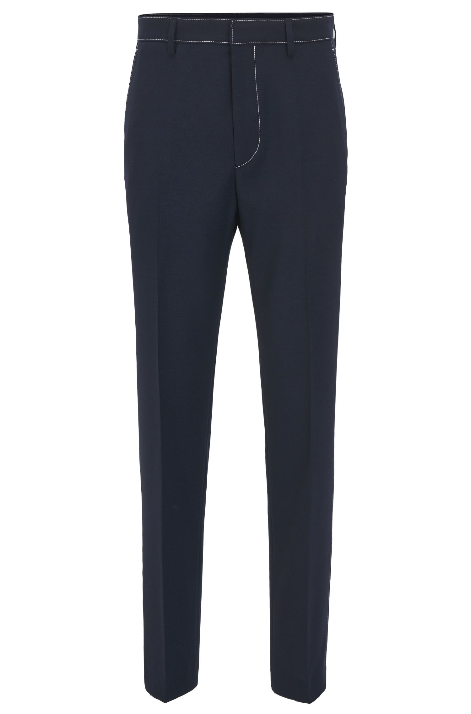 Slim-fit trousers in virgin wool with contrast stitching