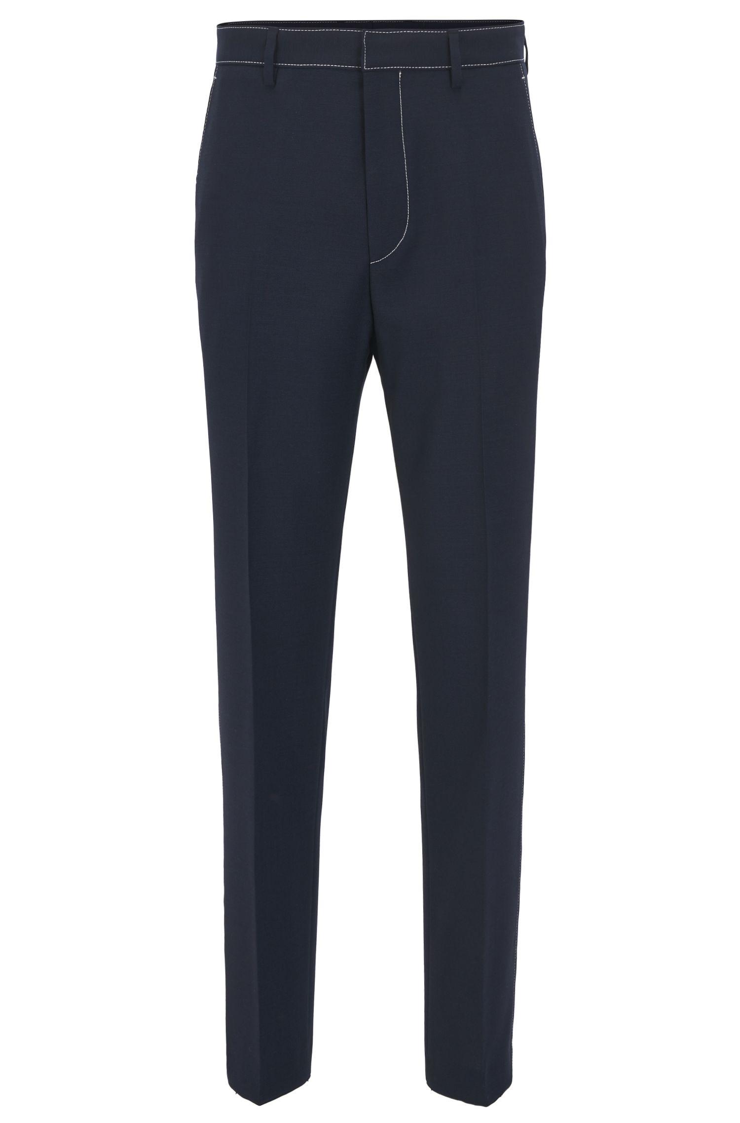 Pantalon Slim Fit en laine vierge à coutures contrastantes