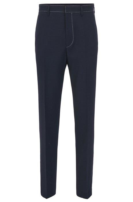 HUGO BOSS Pantalon Slim Fit en laine vierge à coutures contrastantes 06MkE7AVf