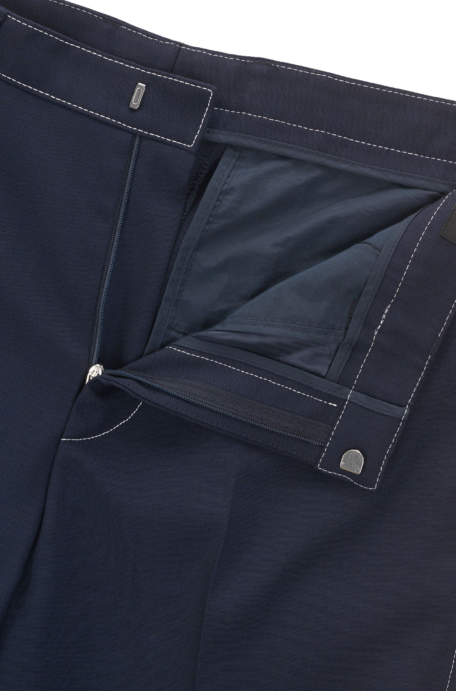 Slim-fit trousers in virgin wool with contrast stitching BOSS