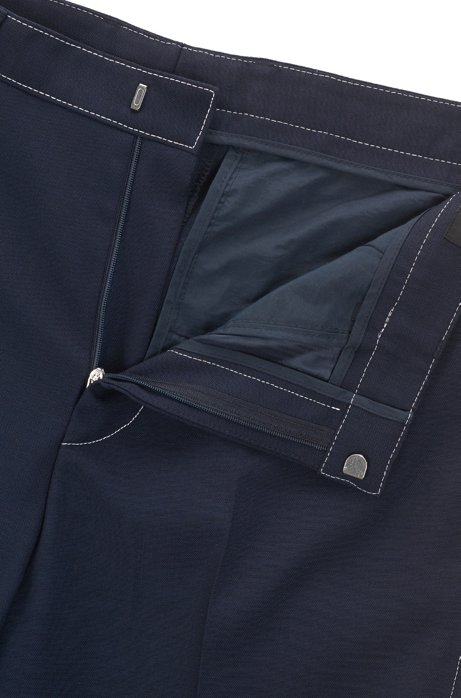 Slim-fit trousers in virgin wool with contrast stitching BOSS 9GHFX