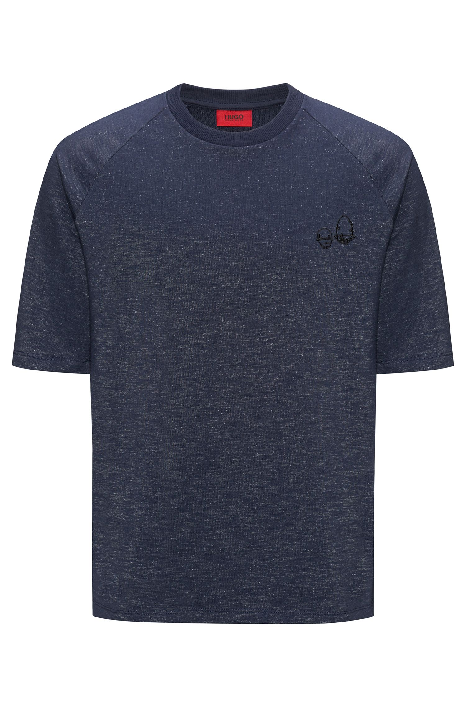 Short-sleeved sweatshirt in a cotton blend