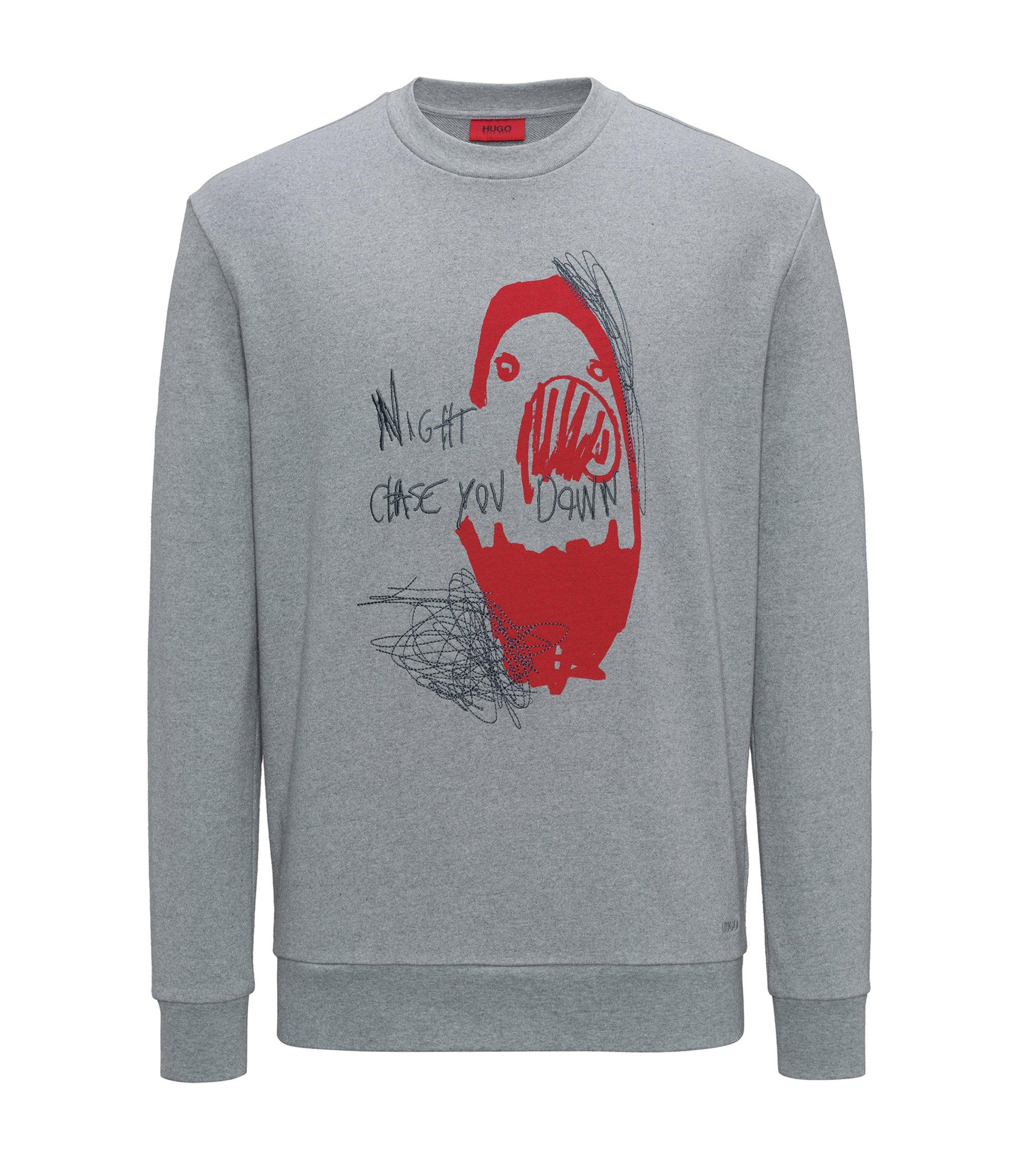 Cotton sweatshirt with slogan and artwork, Grey