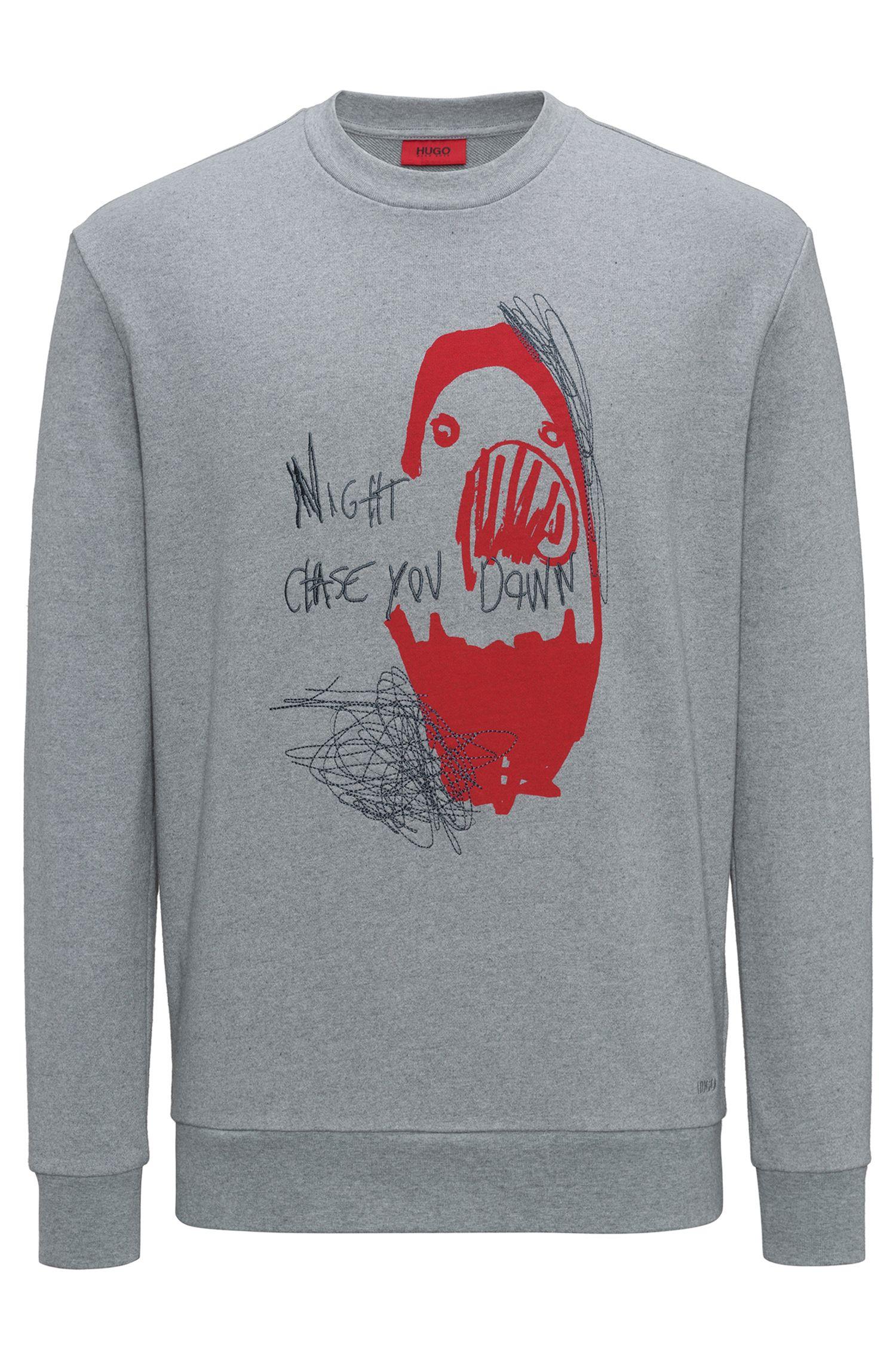 Baumwoll-Sweatshirt mit Slogan und Artwork