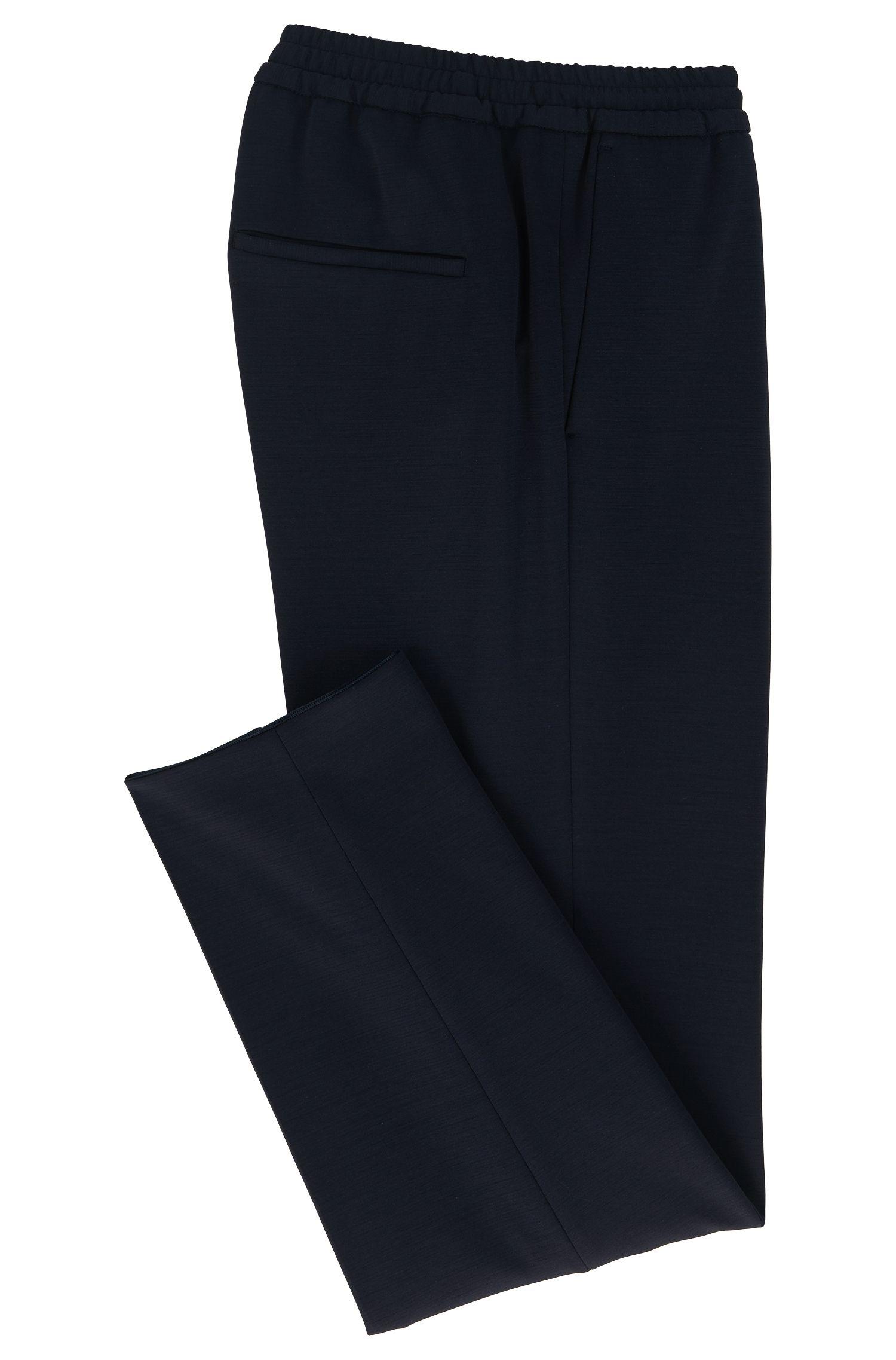 Pantalones slim fit con cordón en mezcla de lana virgen