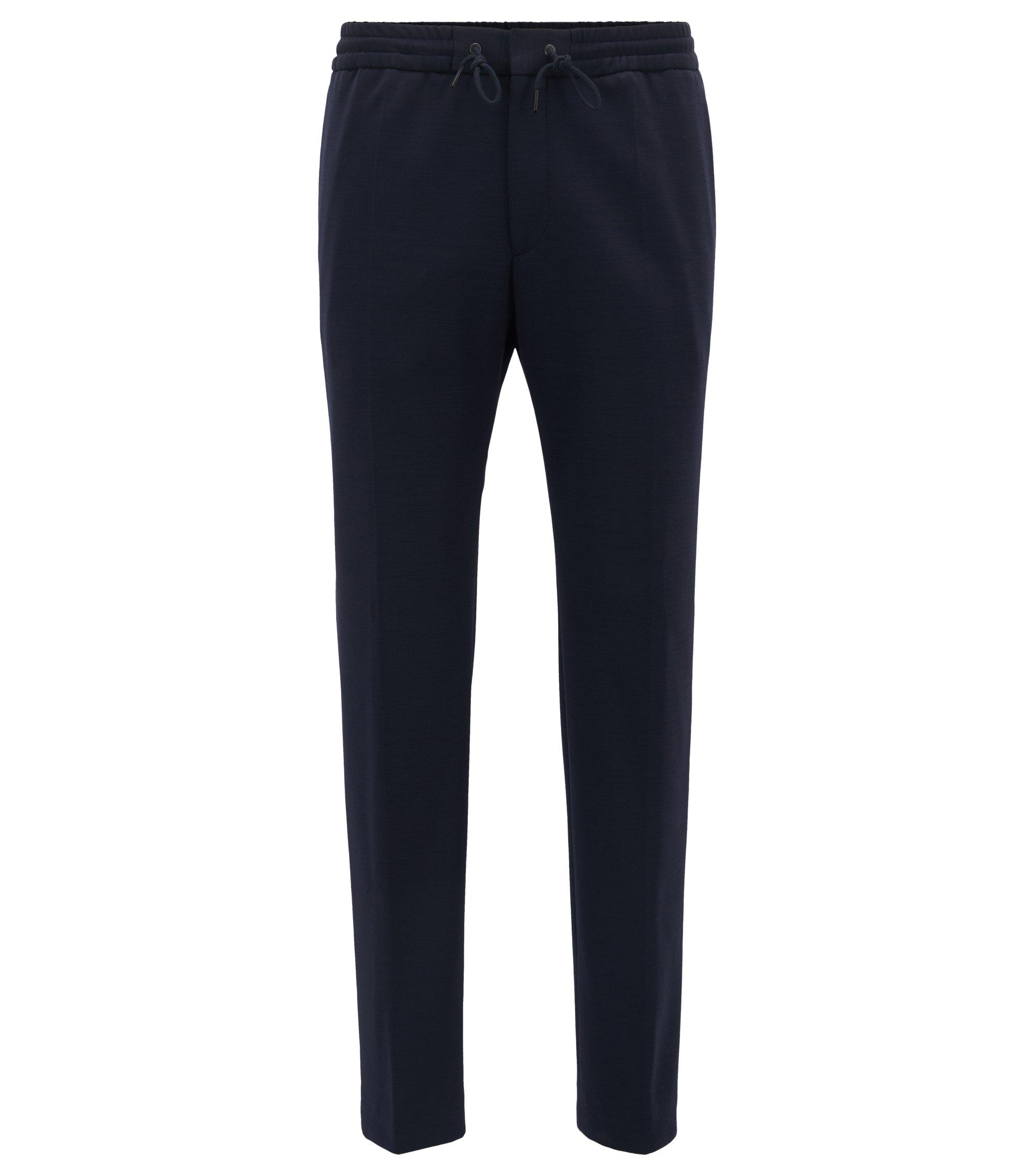Pantaloni con cordoncino slim fit in misto lana vergine, Blu scuro