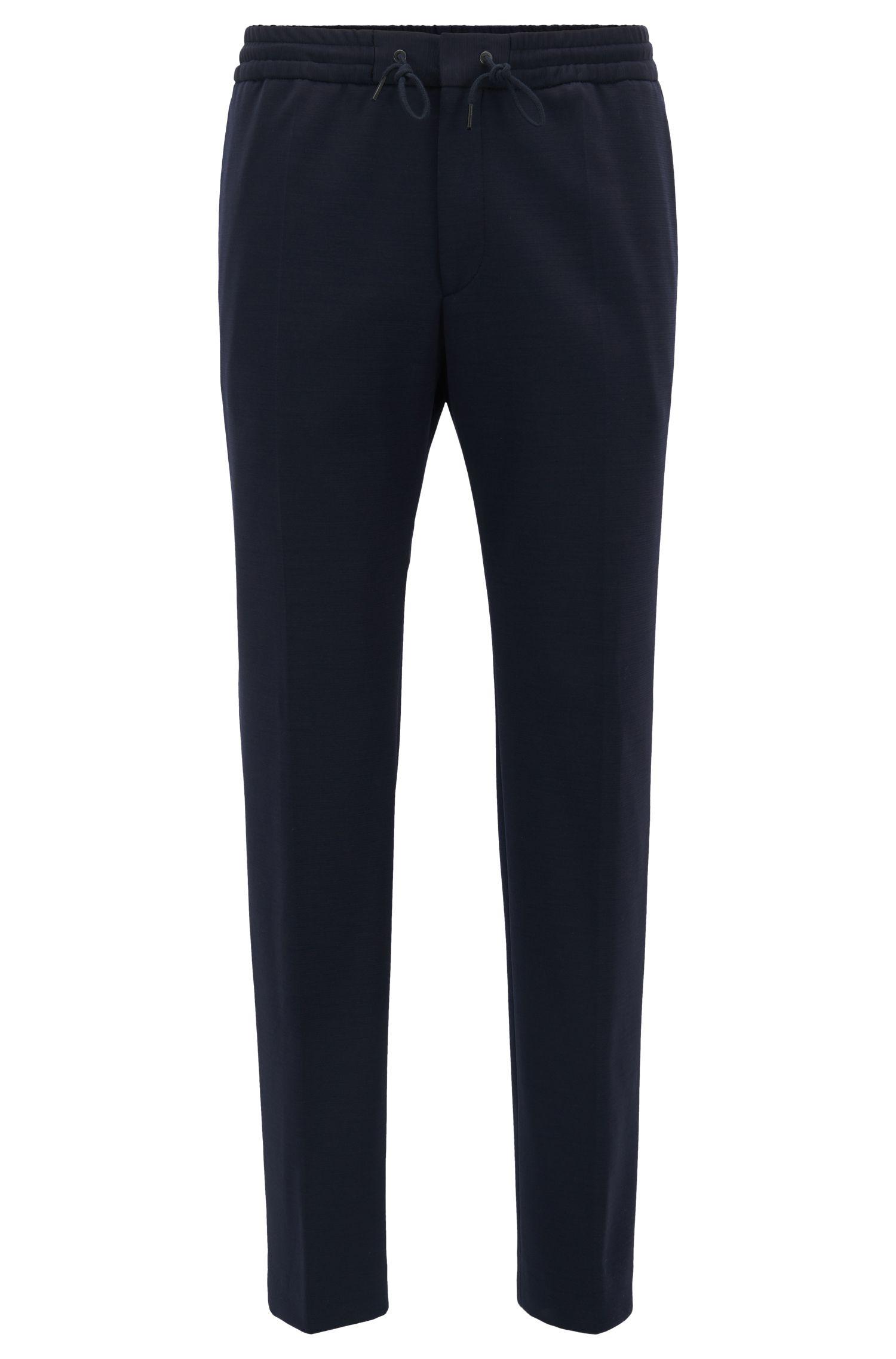 Pantaloni con cordoncino slim fit in misto lana vergine