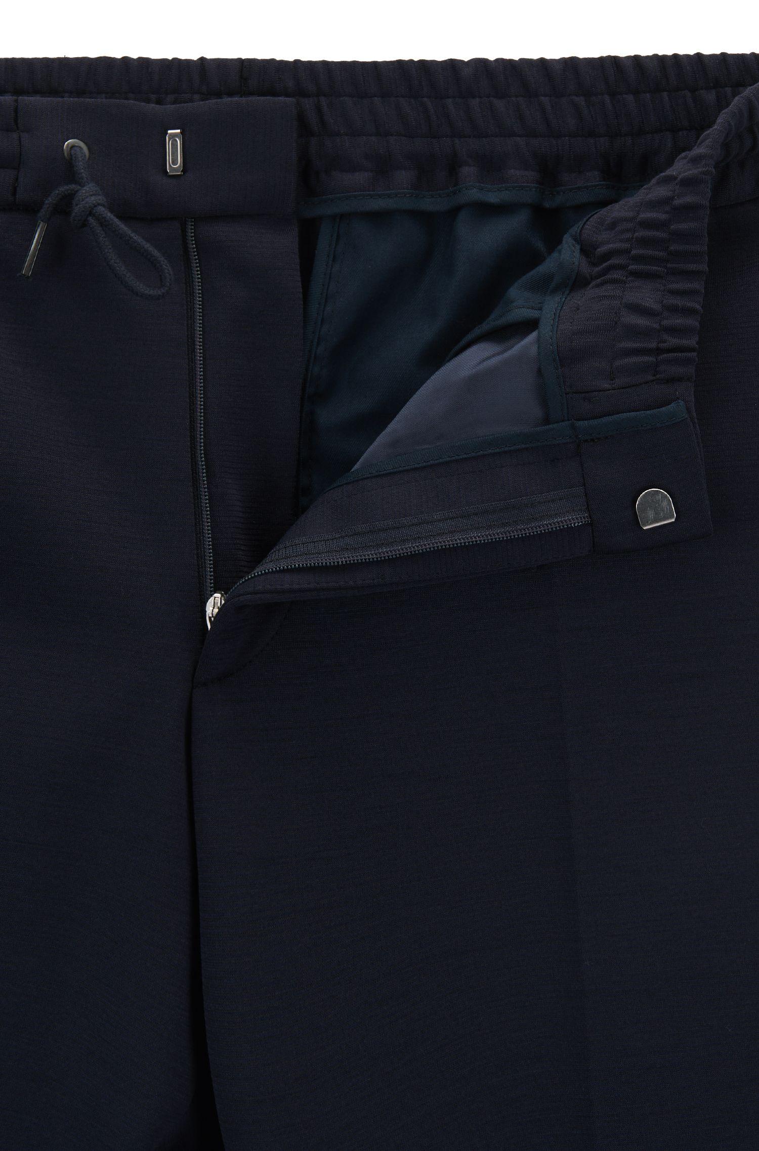Slim-Fit Hose aus Schurwoll-Mix mit Baumwolle und Tunnelzug