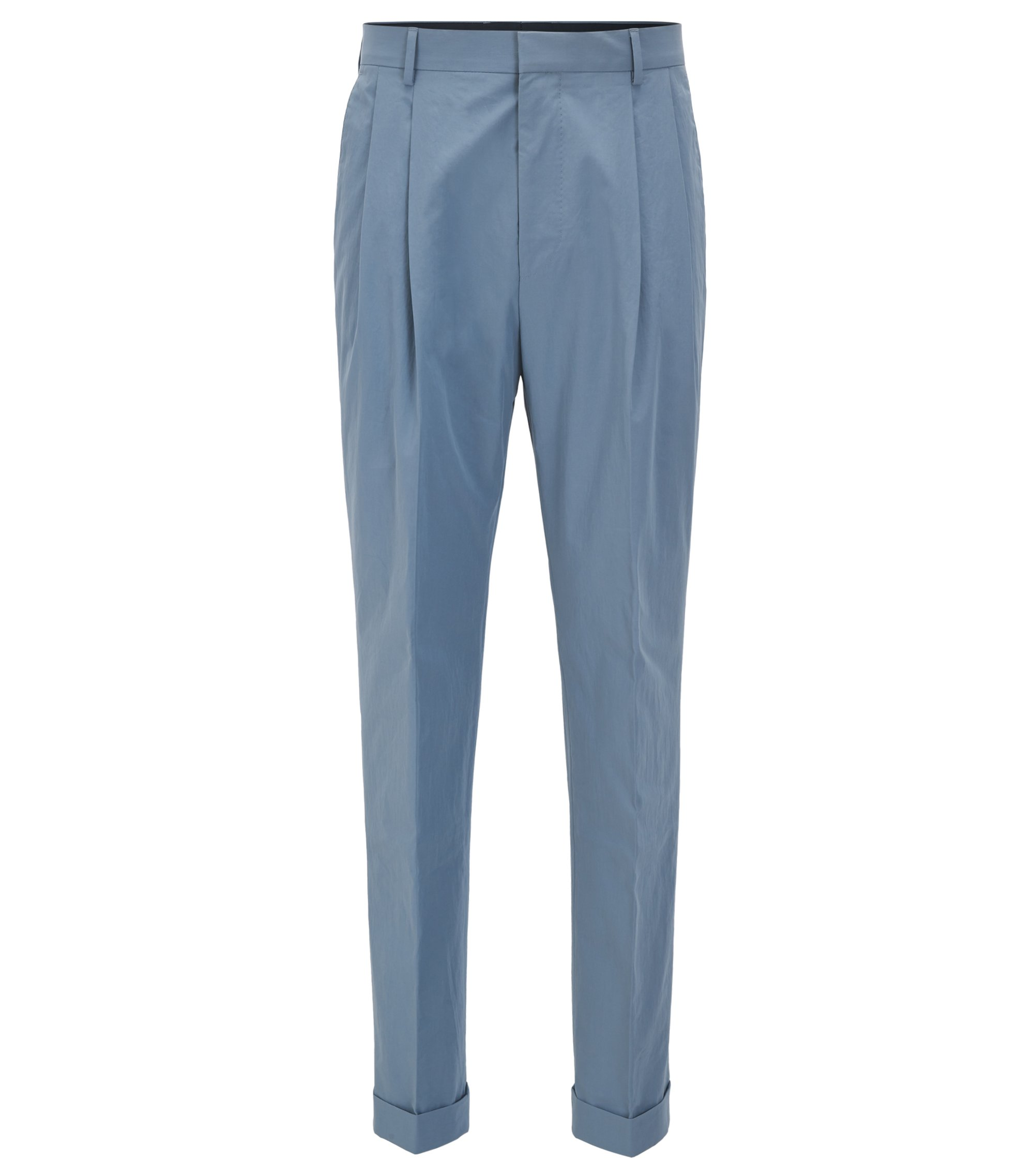 Pantalon Relaxed Fit en coton au toucher papier, Gris