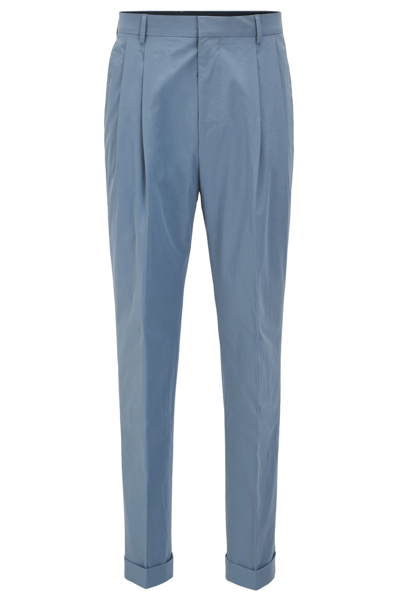 Relaxed-fit trousers in paper-touch cotton