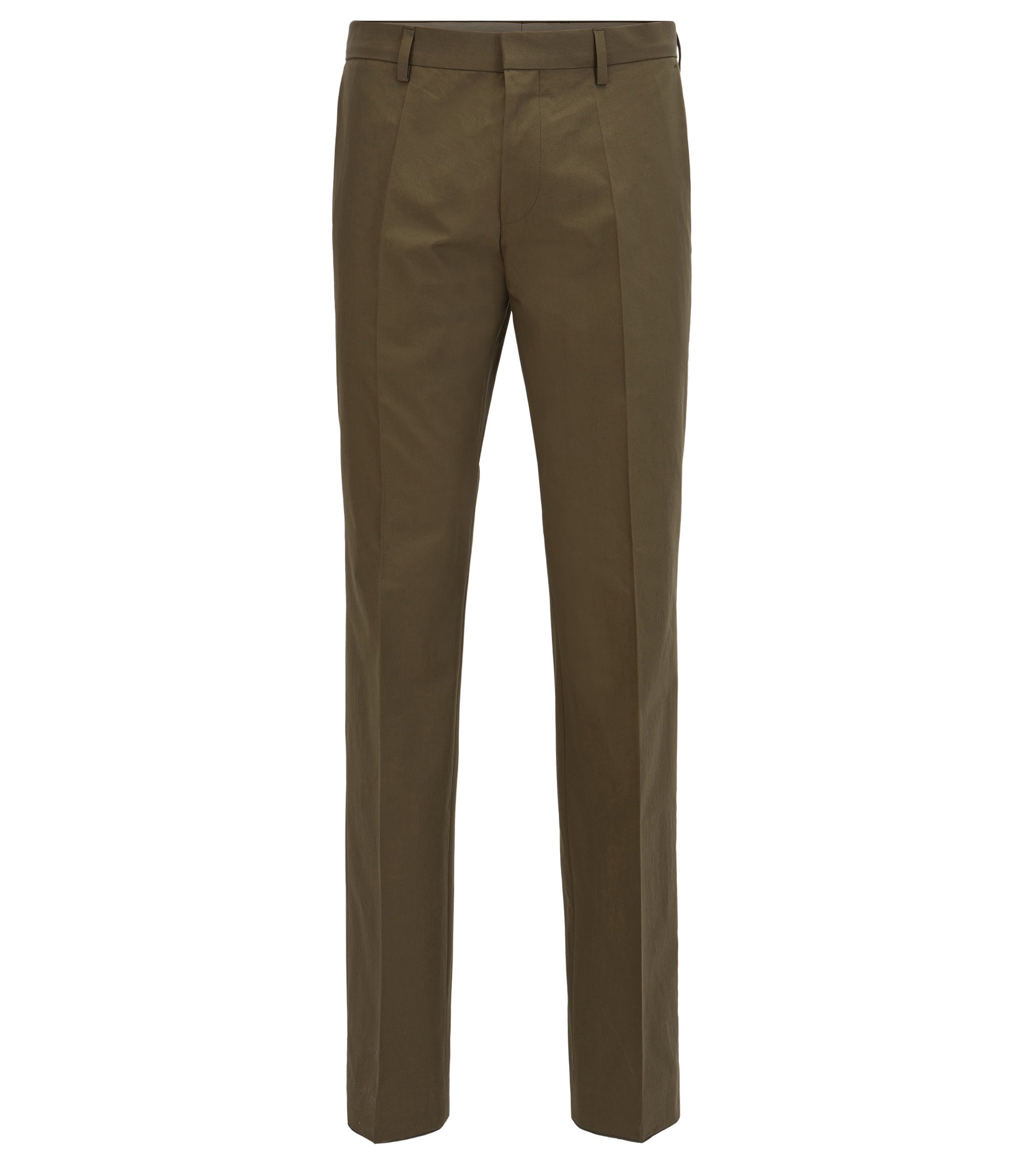 Chinos in paper-touch cotton poplin, Dark Green