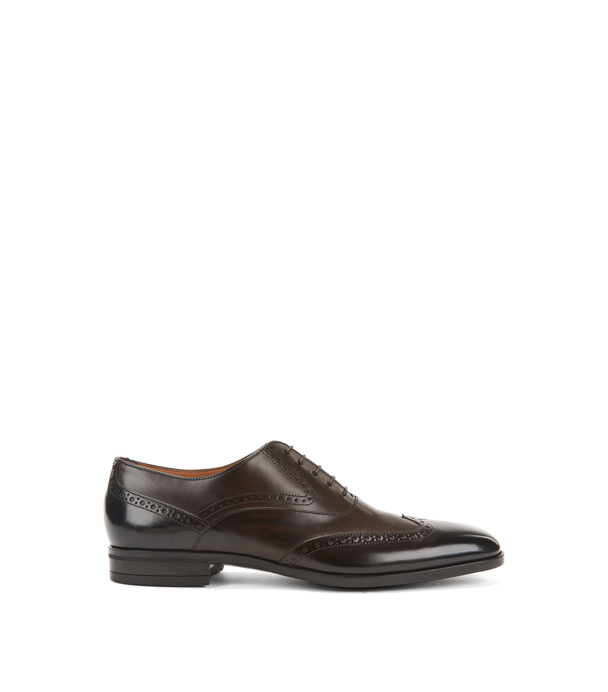 Italian-made burnished leather Oxford shoes with brogue detailing, Dark Brown