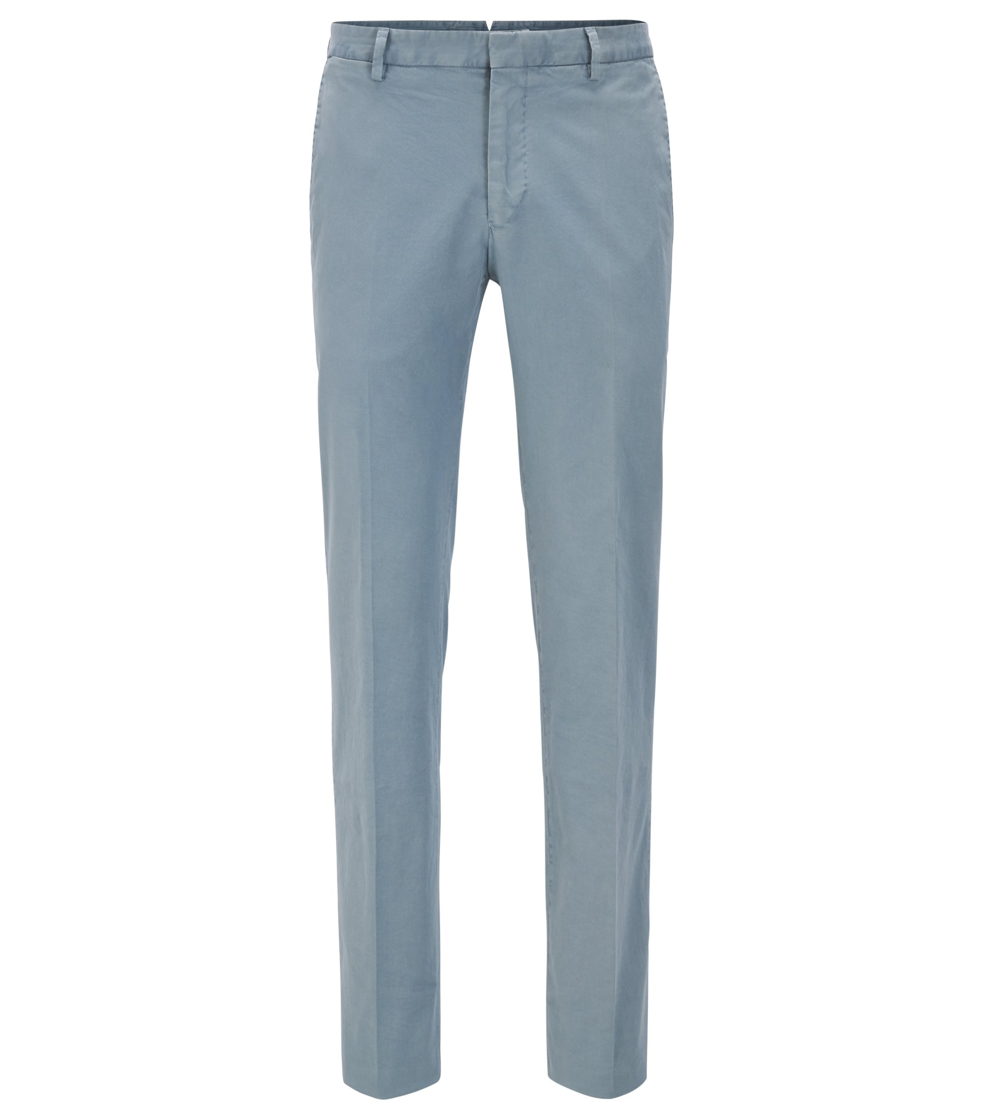 Pantalon Slim Fit en coton stretch teint en pièce, Gris