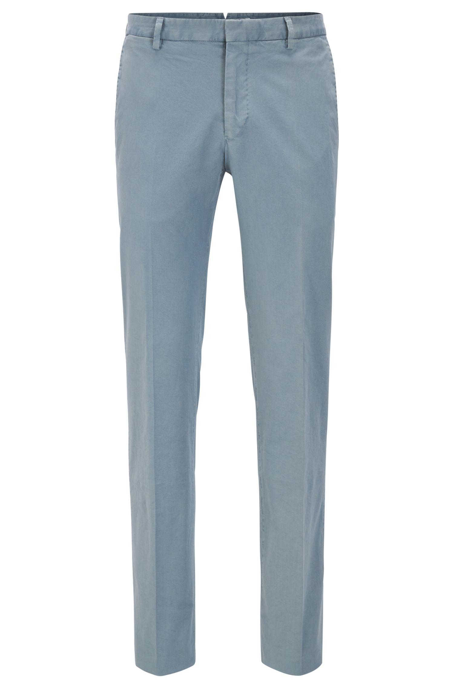 Pantalon Slim Fit en coton stretch teint en pièce